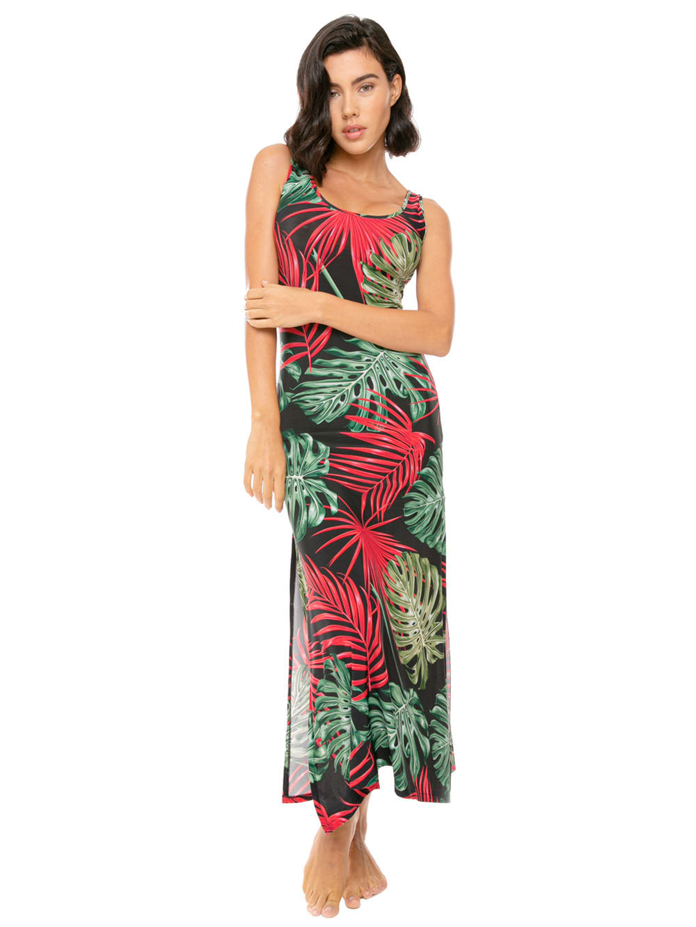Buy Long Tank Dress Vintage Leaves Print online, shop MC2 Saint Barth with free shipping