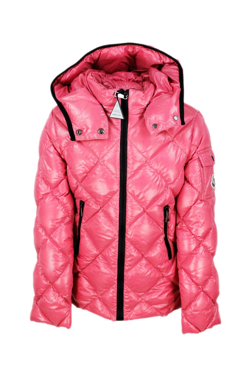Moncler Kids' Kamile Quilted Jacket With Diamond Quilting With Detachable Hood And Zip Closure In Fucsia