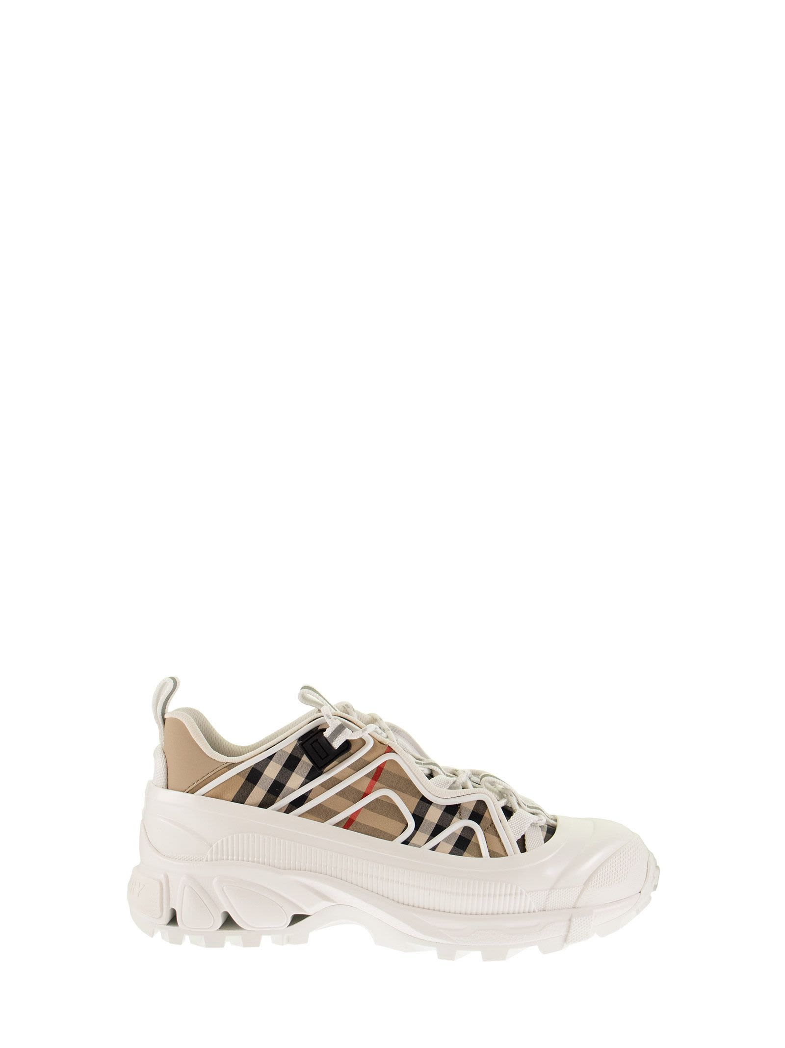 Burberry VINTAGE CHECK COTTON AND LEATHER ARTHUR SNEAKERS ARCHIVE BEIGE