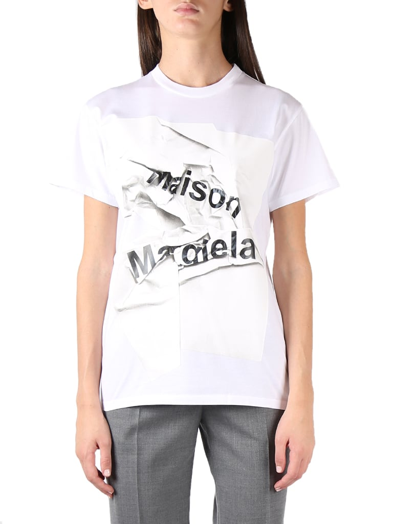 Maison Margiela WHITE COTTON CRUMPLED LOGO-PRINT T-SHIRT