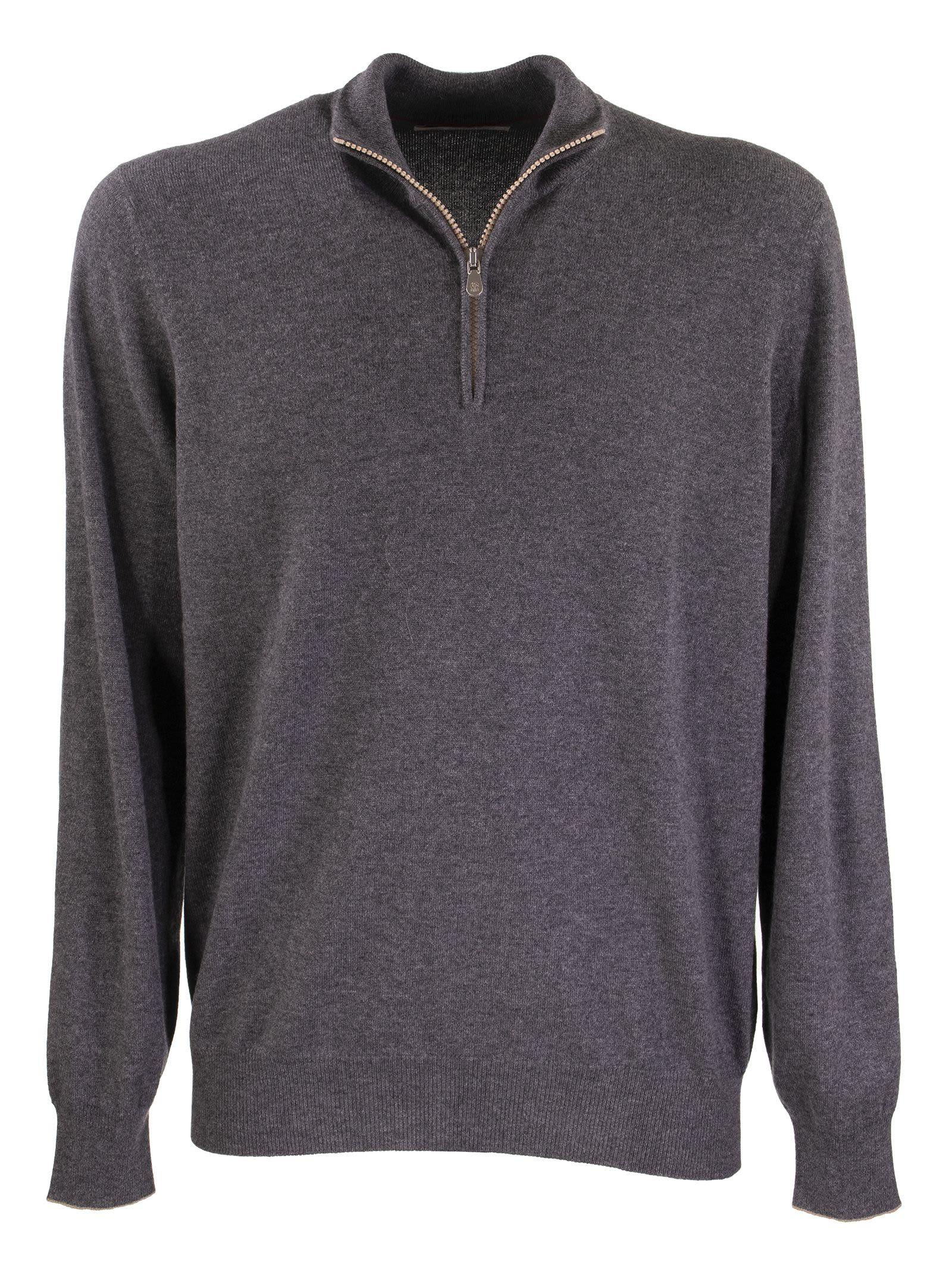 Brunello Cucinelli High Neck Sweater Cashmere Turtleneck Sweater With Zipper