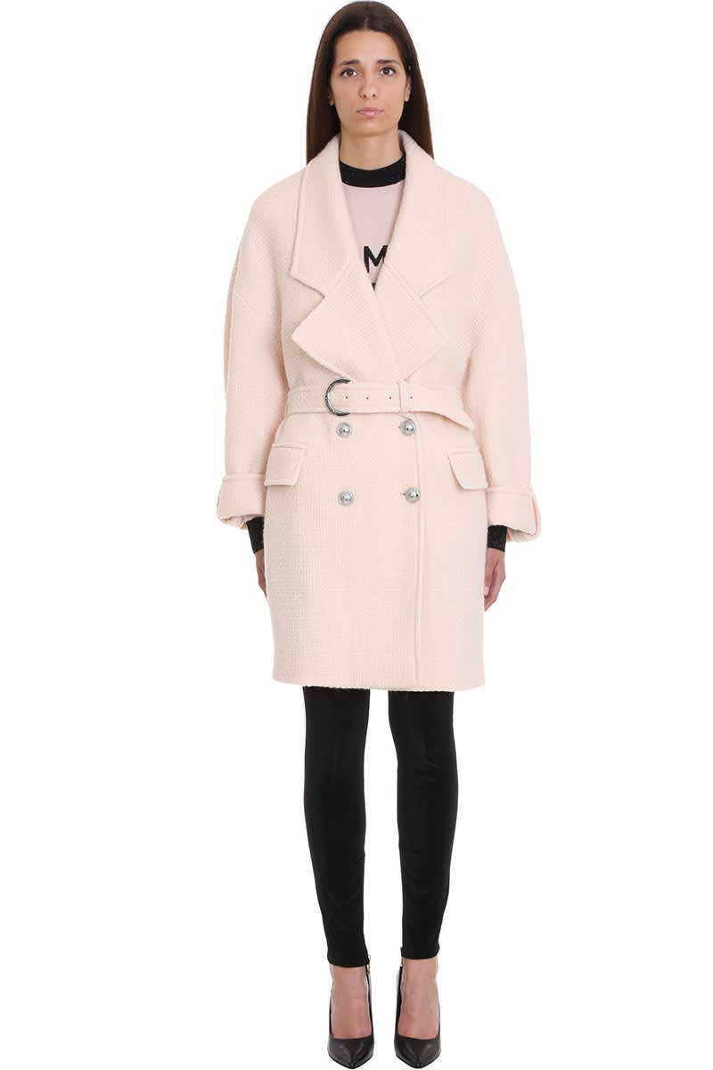 Balmain Coat In Rose-pink Wool