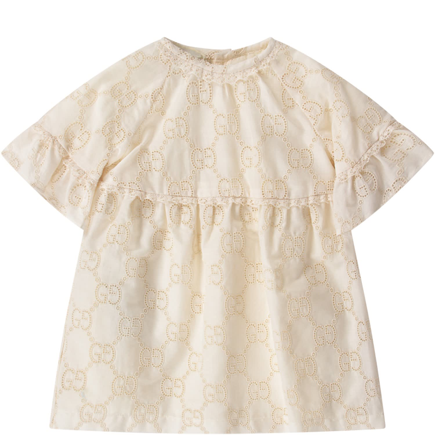 Buy Ivory Babygirl Dress With Double Gg online, shop Gucci with free shipping