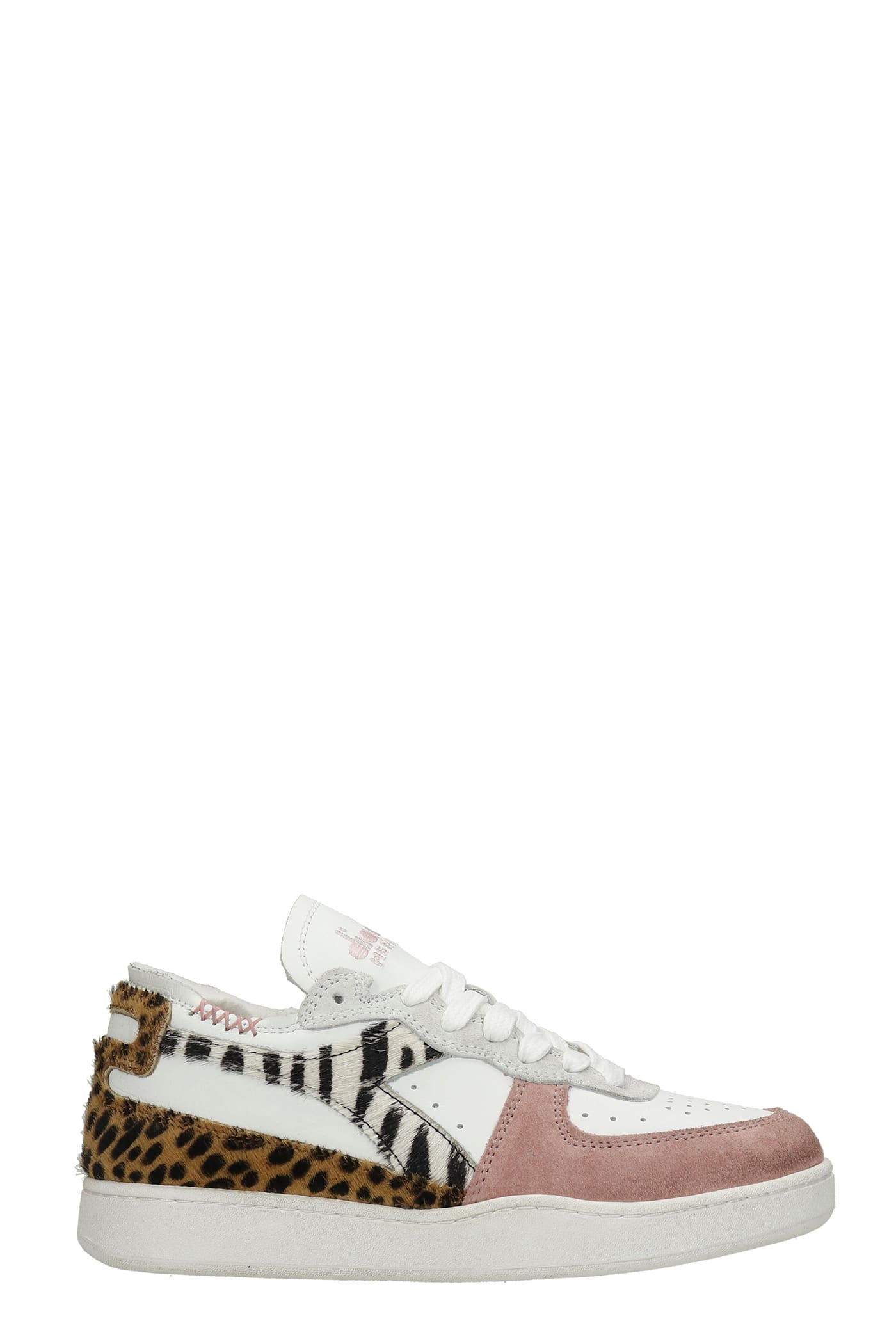 Mi Basket Sneakers In White Suede And Leather