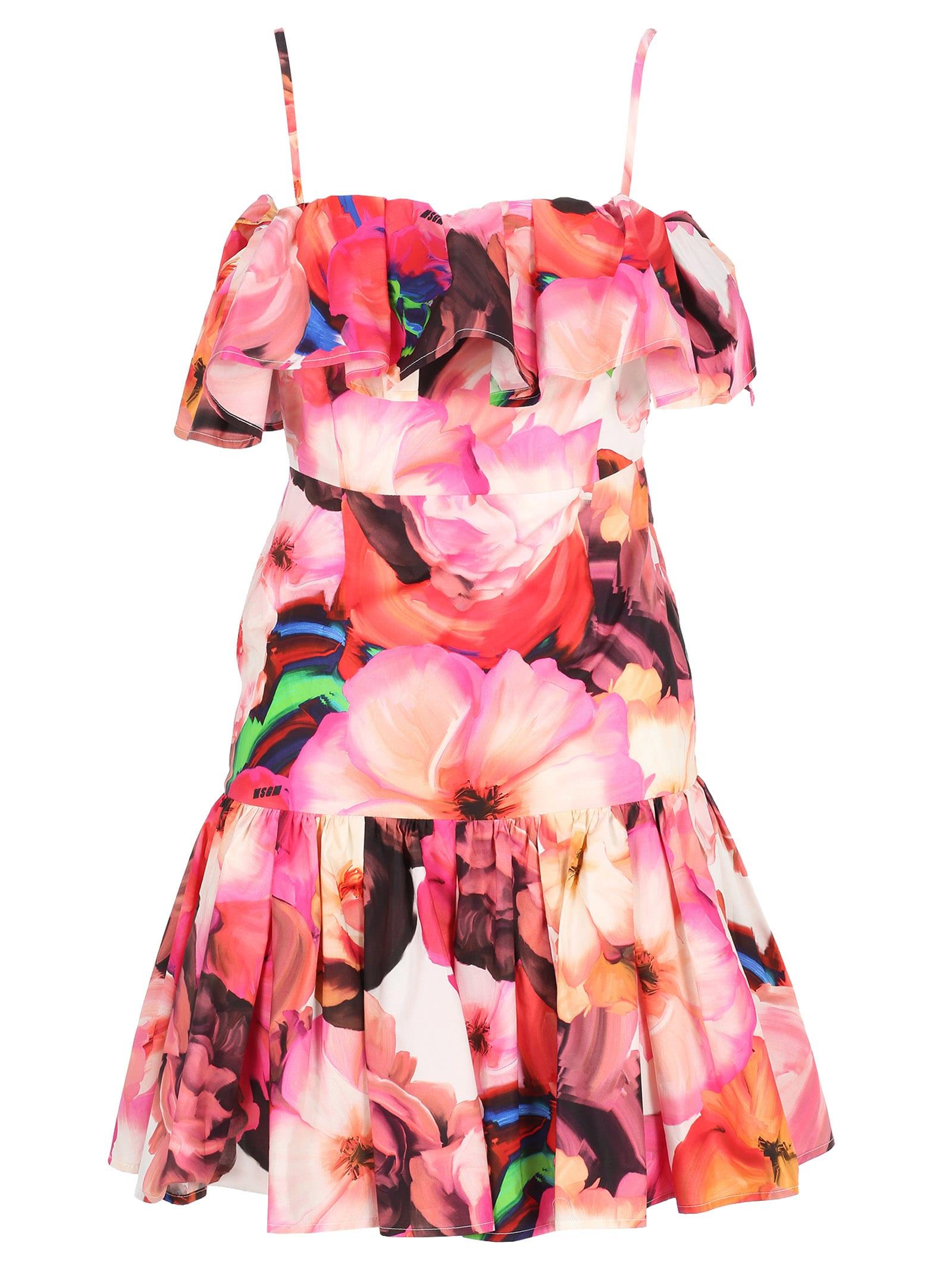 Msgm Msgm Floral Print Ruffles Dress