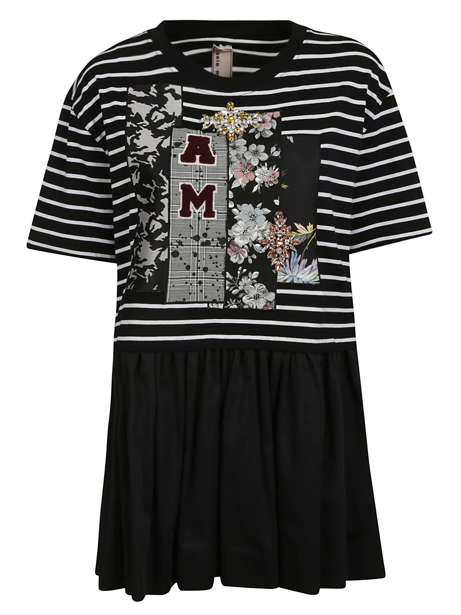 Buy Antonio Marras Ruffled Striped Dress online, shop Antonio Marras with free shipping
