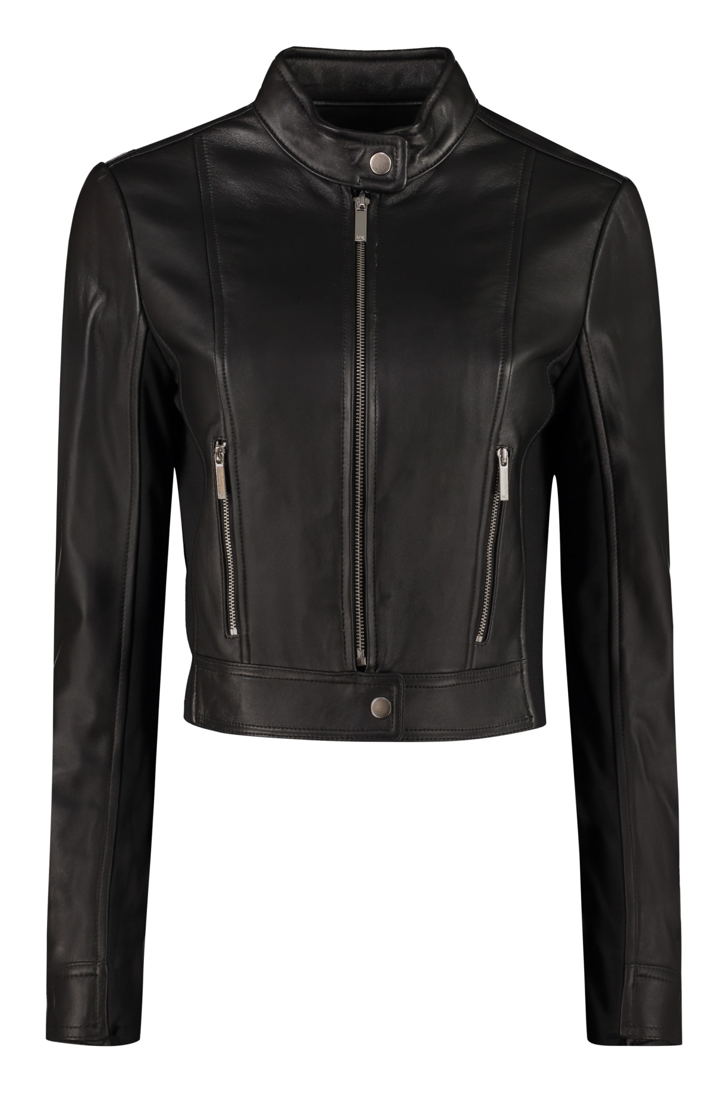 Michael Michael Kors Cropped Leather Jacket In Black