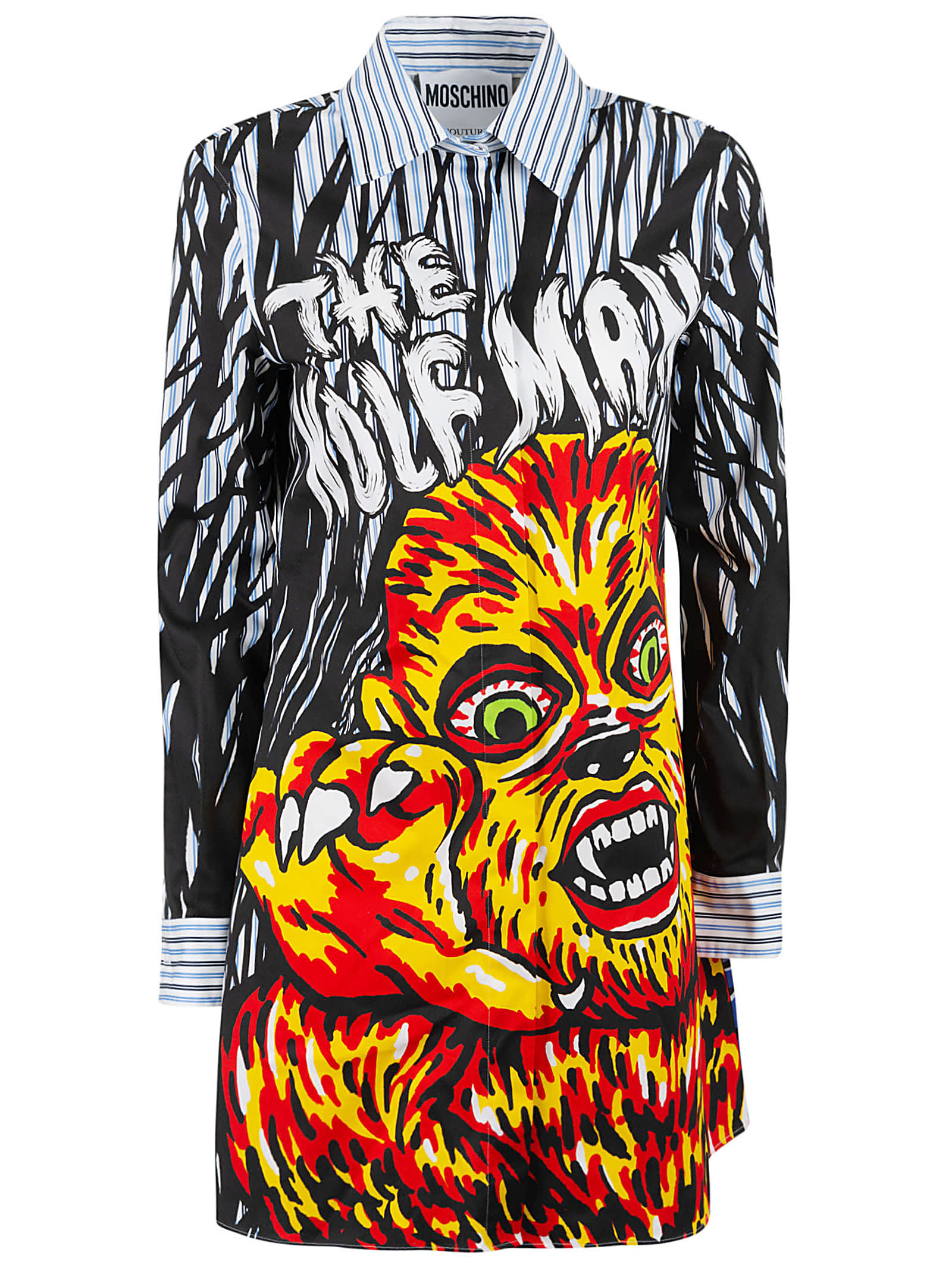 Buy Moschino The Wolf Man Printed Shirt Dress online, shop Moschino with free shipping