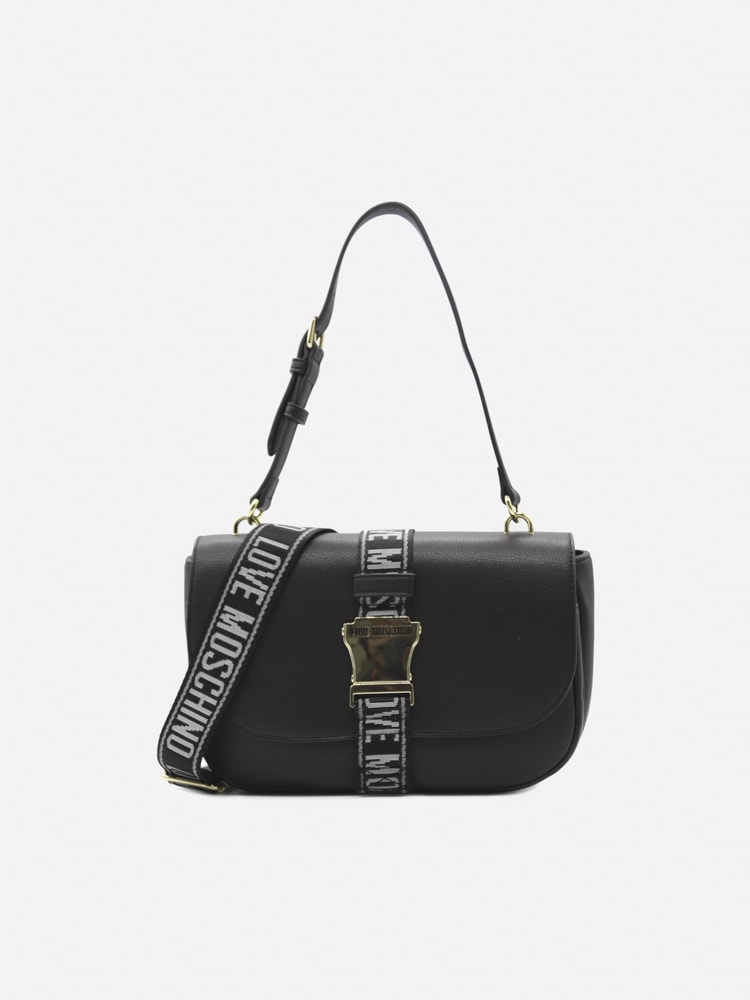 Love Moschino Eco-leather Shoulder Bag With Decorative Buckle In Black