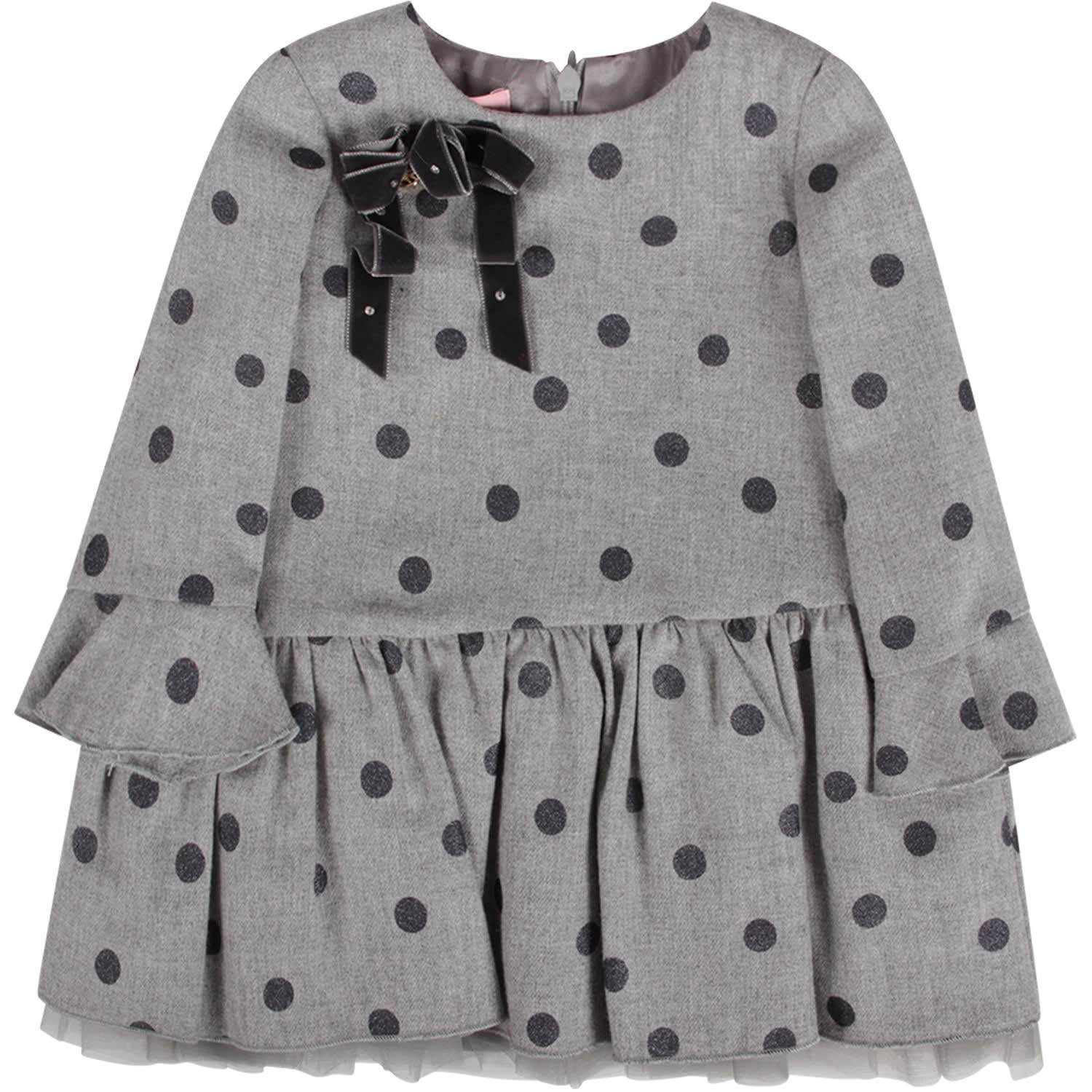 Blumarine Grey Babygirl Dress All-over Polka-dots