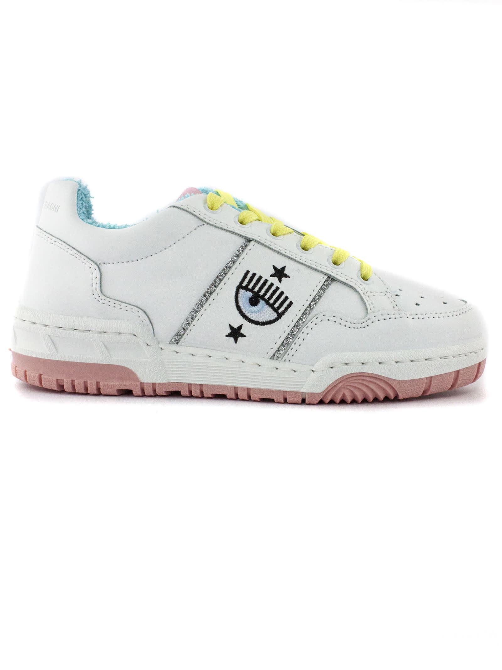 Chiara Ferragni Sneakers WHITE LEATHER CF1 SNEAKERS