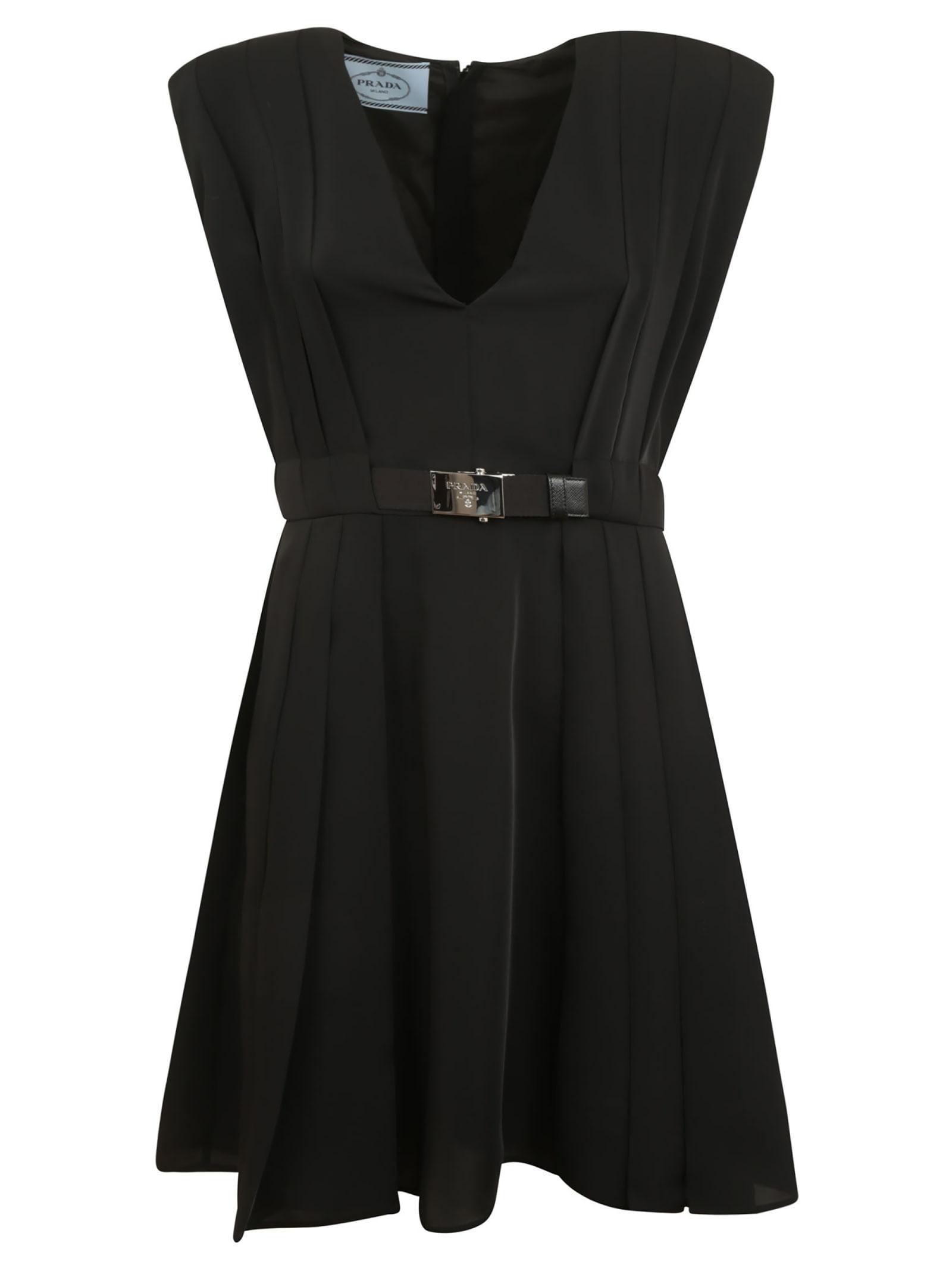 Prada Sleeveless Belted V-neck Dress