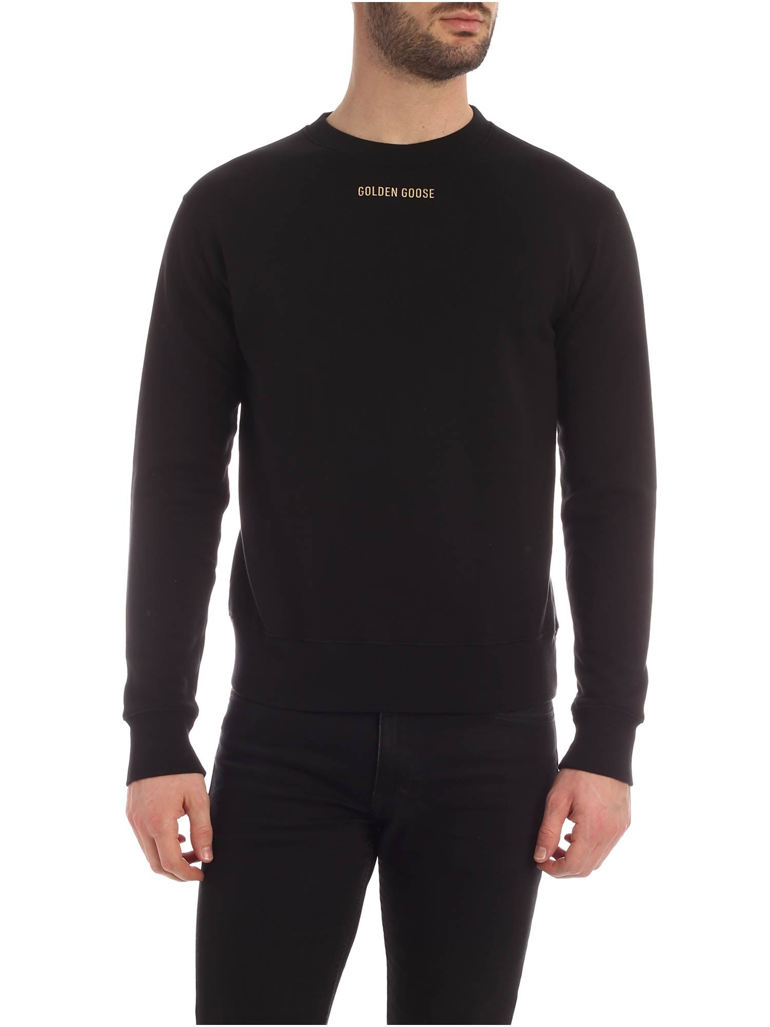 Sharon Sweatshirt from Golden Goose: Black Crewneck with frontal logo and gold print on back. -fit the true size -composition: 100% cotton -made in italy