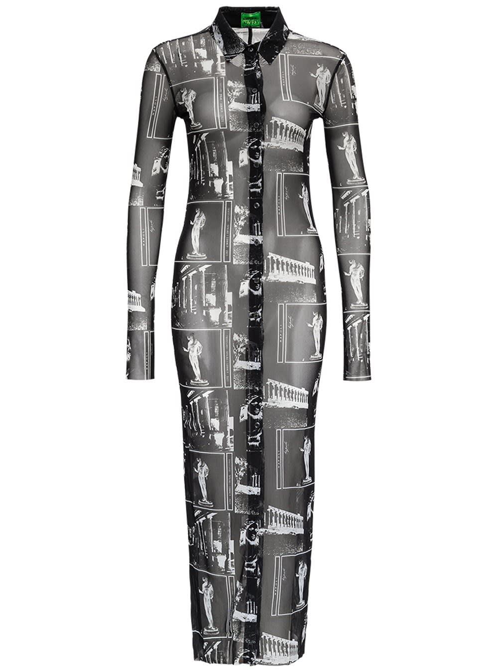 Trussardi Mesh Dress With Mosaic Print