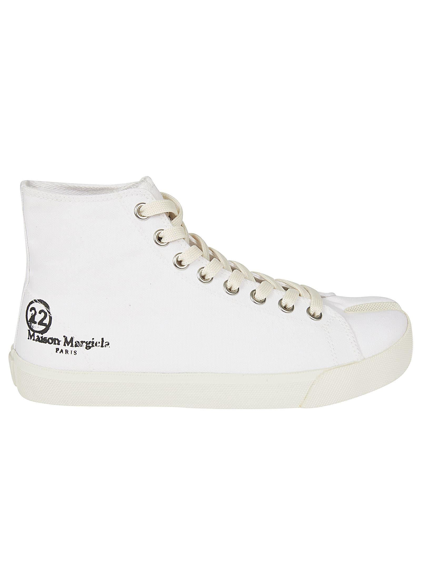 Buy Maison Margiela Logo Print Hi-top Sneakers online, shop Maison Margiela shoes with free shipping
