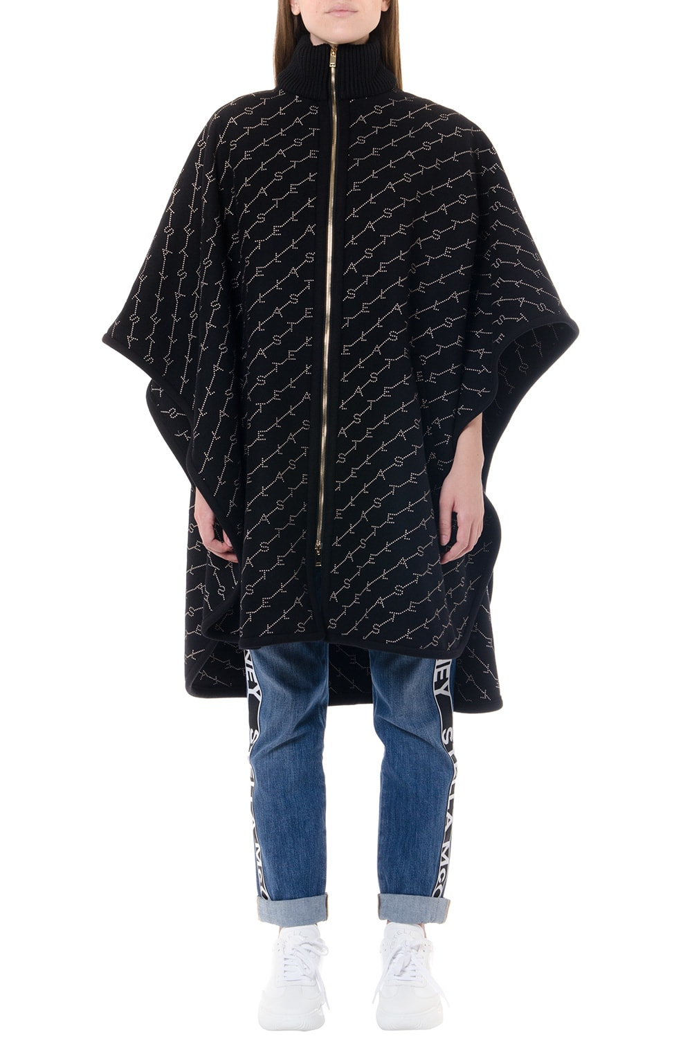 Stella McCartney Black Wool Cape With Monogram Embroidery