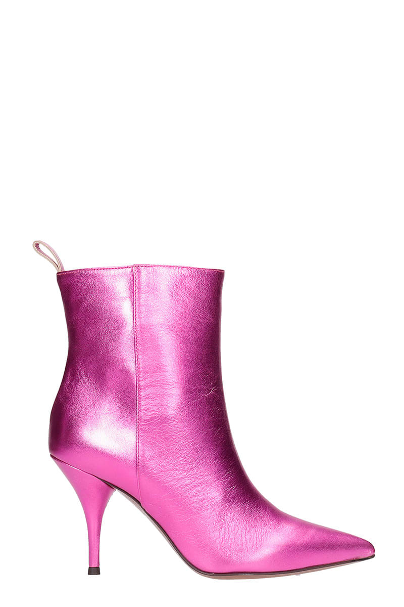 L'AUTRE CHOSE Leathers HIGH HEELS ANKLE BOOTS IN FUXIA LEATHER