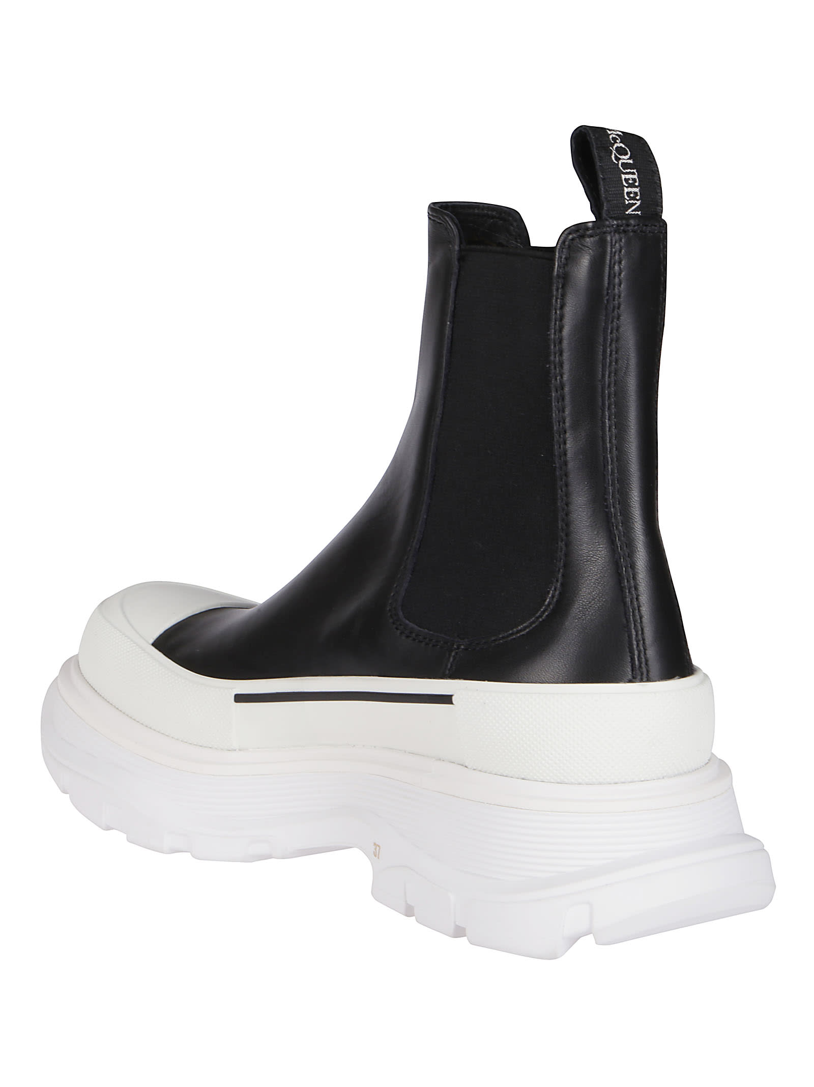 Alexander Mcqueen BLACK AND WHITE LEATHER TREAD CHELSEA BOOTS