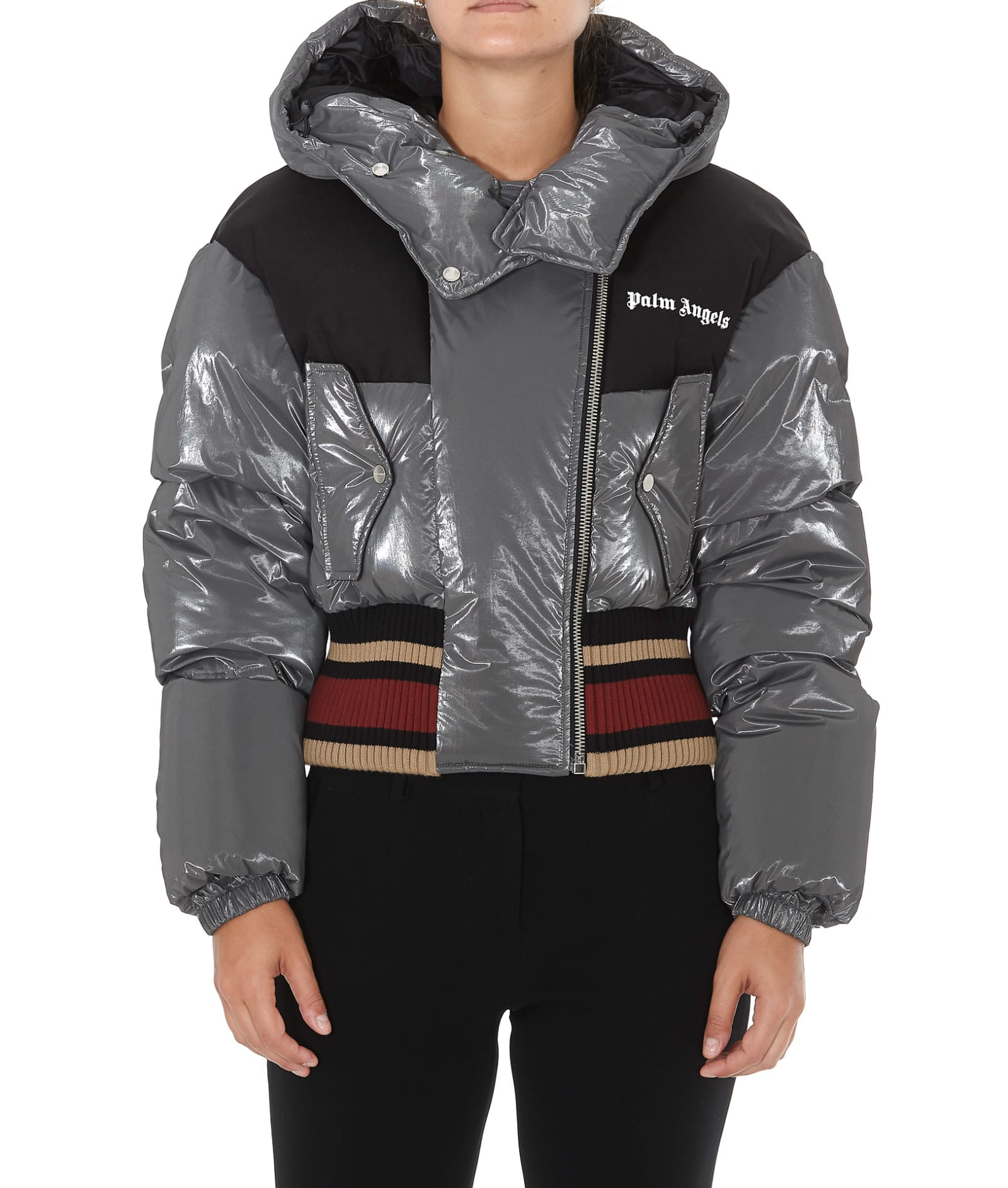 Palm Angels Bomber Down Jacket In Grey