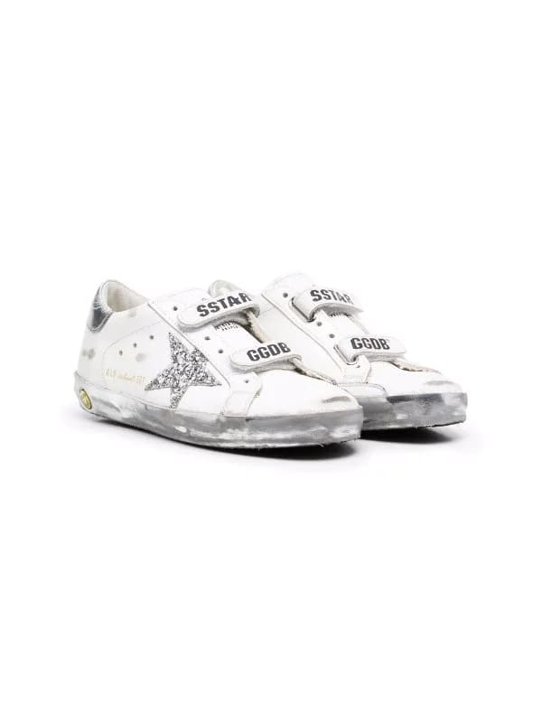 Golden Goose Junior White And Silver Super-star Sneakers With Velcro Closure