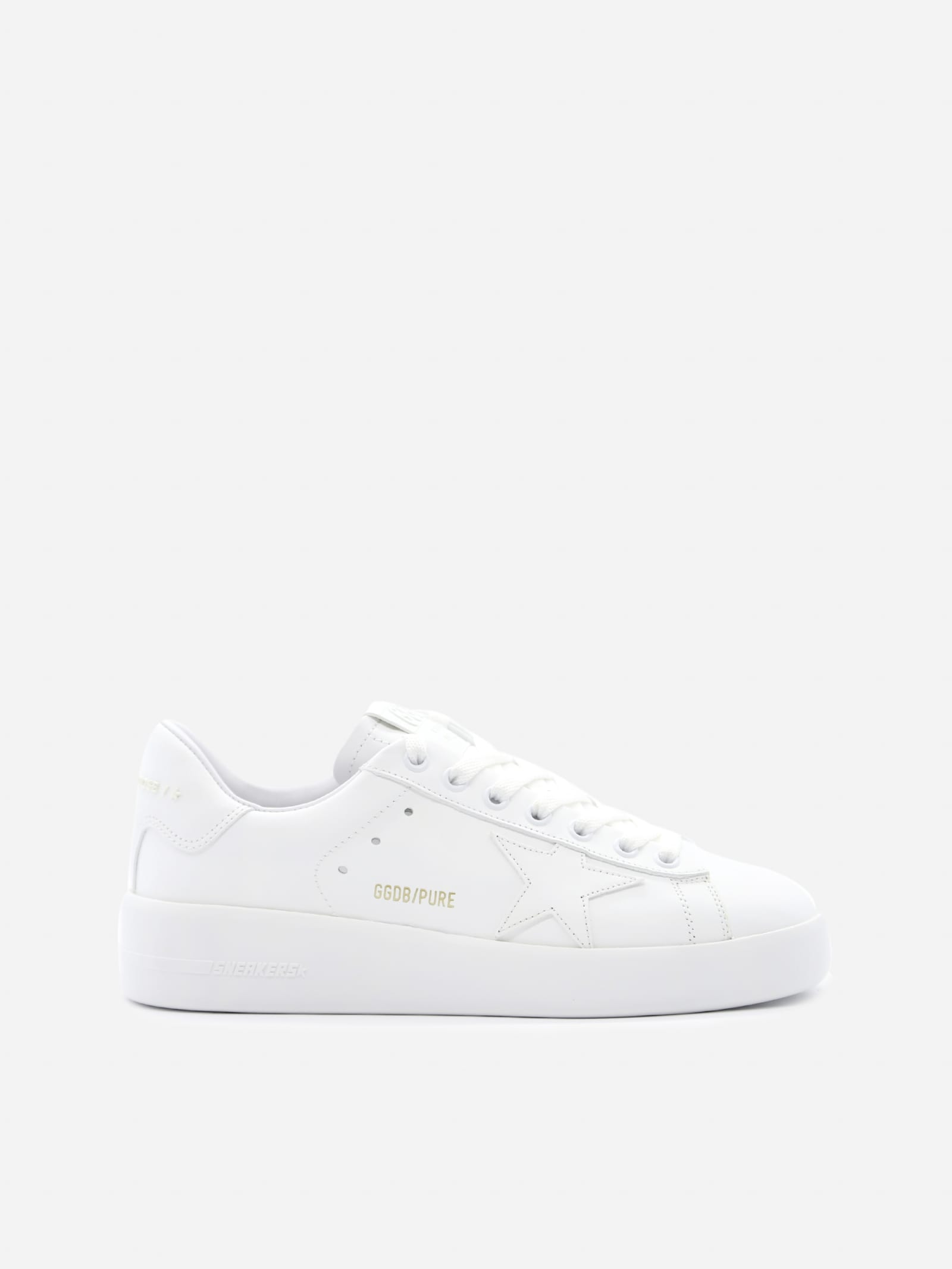 Golden Goose Pure Star Sneakers In Leather With Laminated Effect Logo