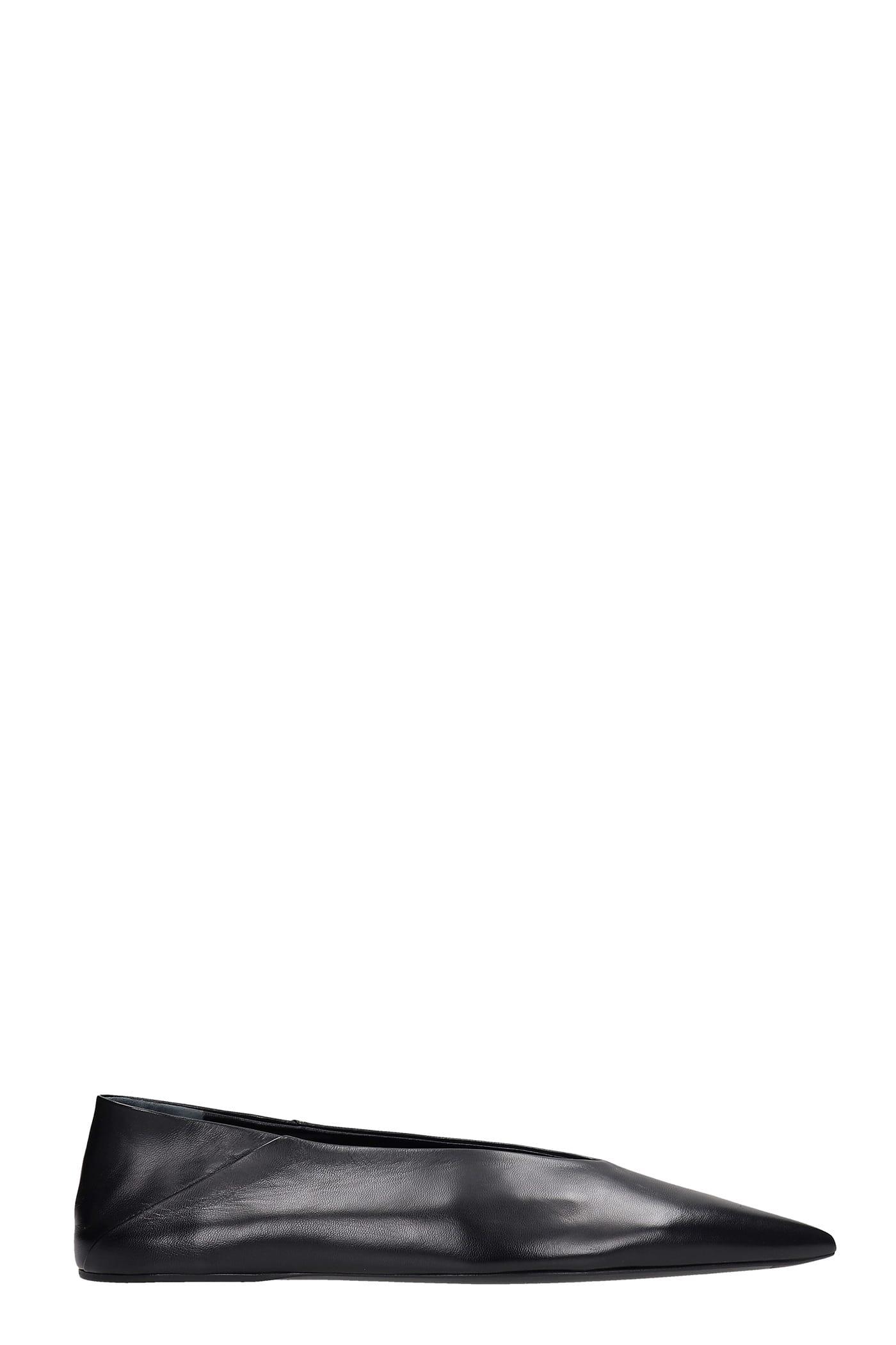 Buy Jil Sander Ballet Flats In Black Leather online, shop Jil Sander shoes with free shipping