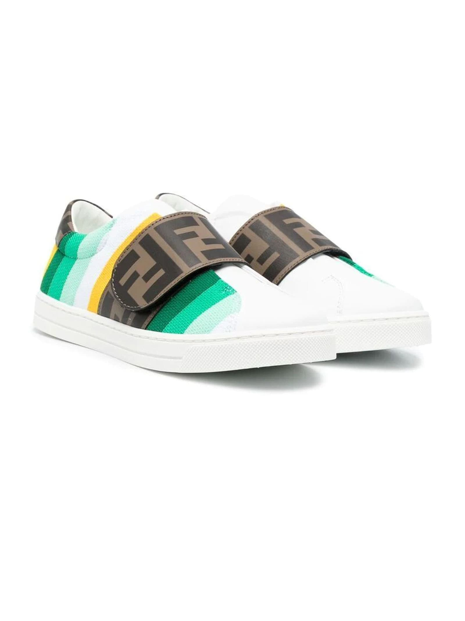 Fendi Leathers WHITE LEATHER SNEAKERS