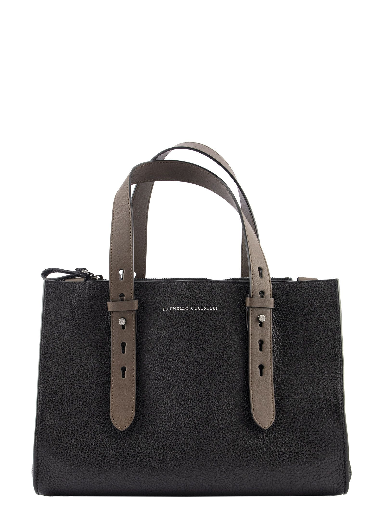 Brunello Cucinelli SHOPPER BAG TEXTURE CALFSKIN BAG WITH MONILI AND ADJUSTABLE HANDLES
