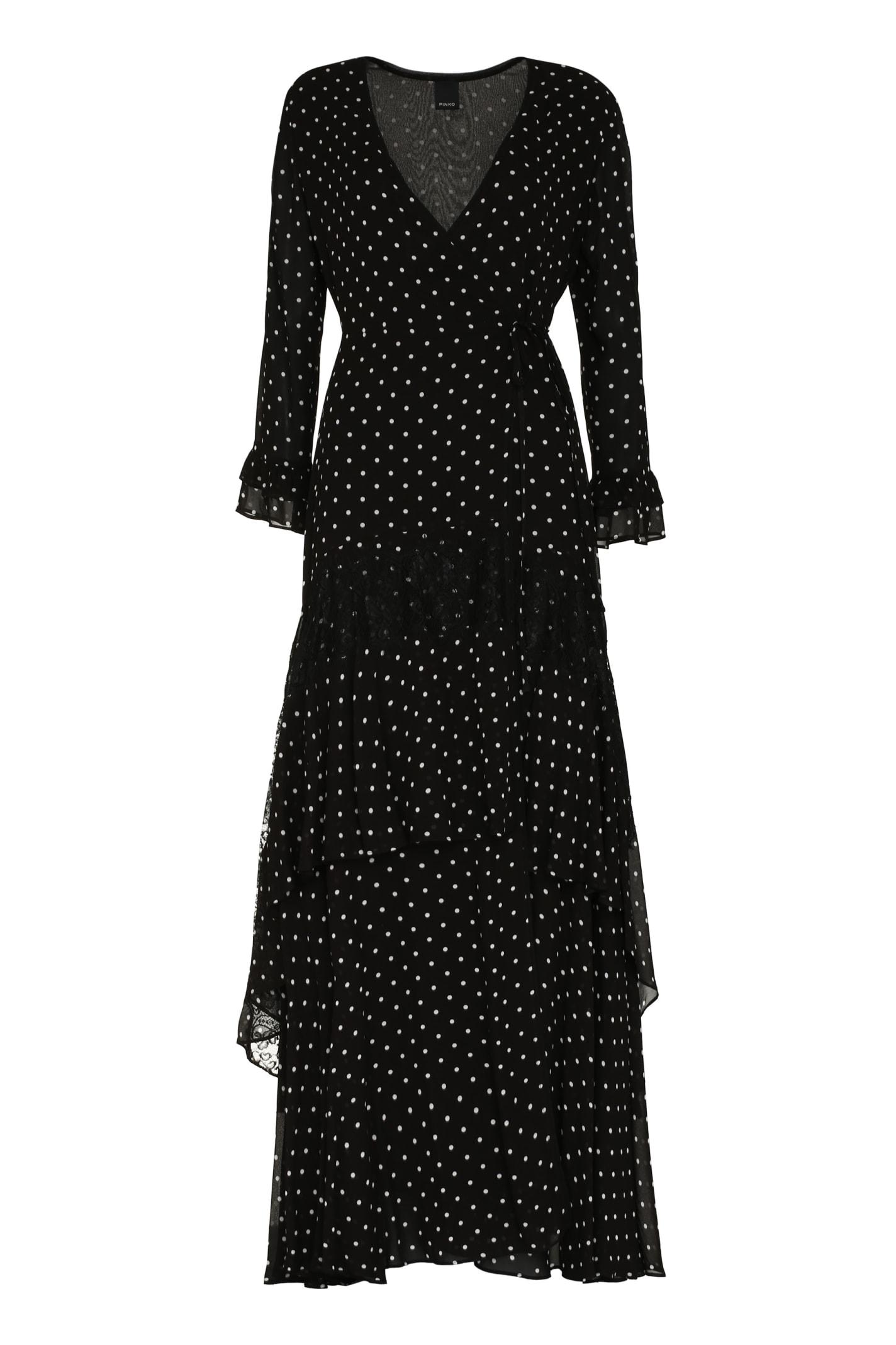 Pinko Cheesecake Polka Dot Print Long Dress