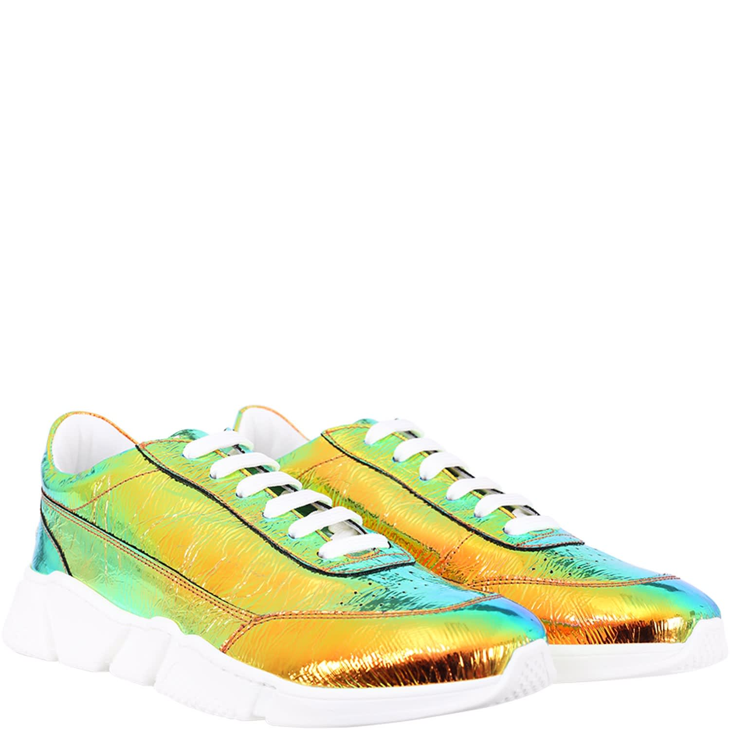 Colorful Sneakers For Kids With White Logo