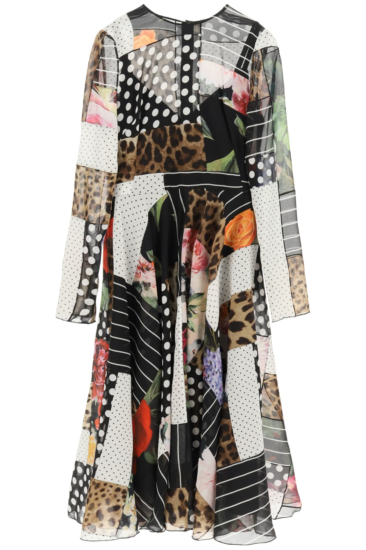 Buy Chiffon Patchwork Dress online, shop Dolce & Gabbana with free shipping