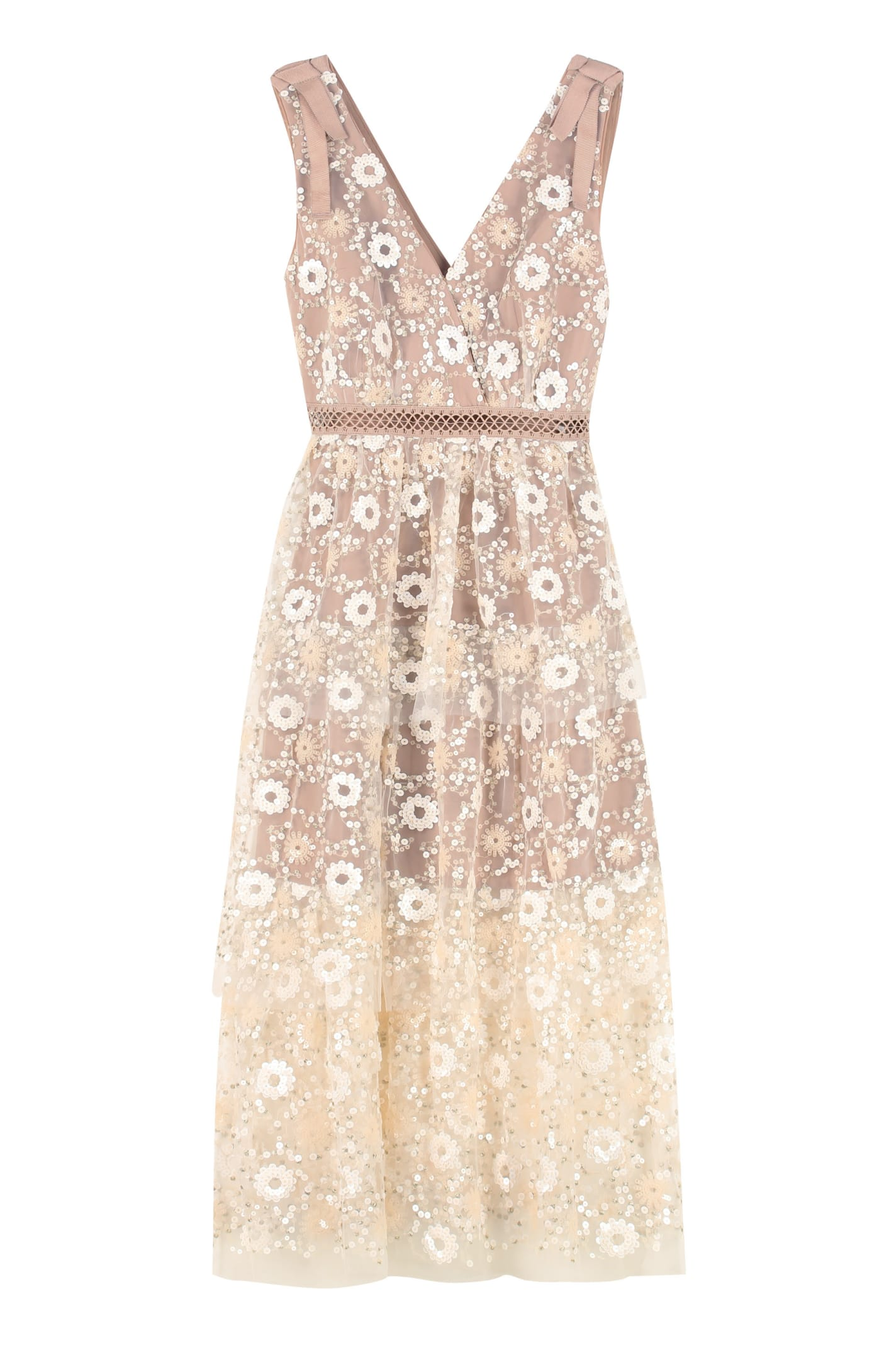 self-portrait Embroidered Tulle Dress