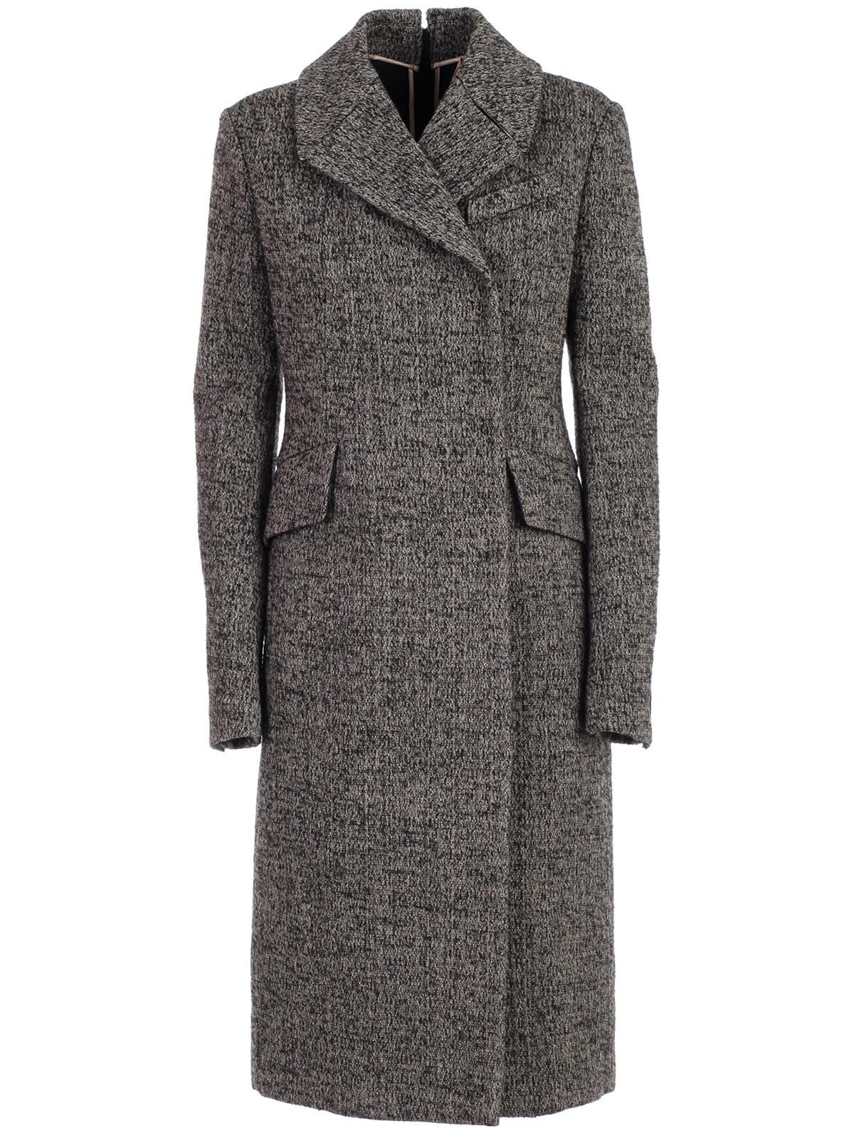 N.21 Coat Boucle W/zip Behind