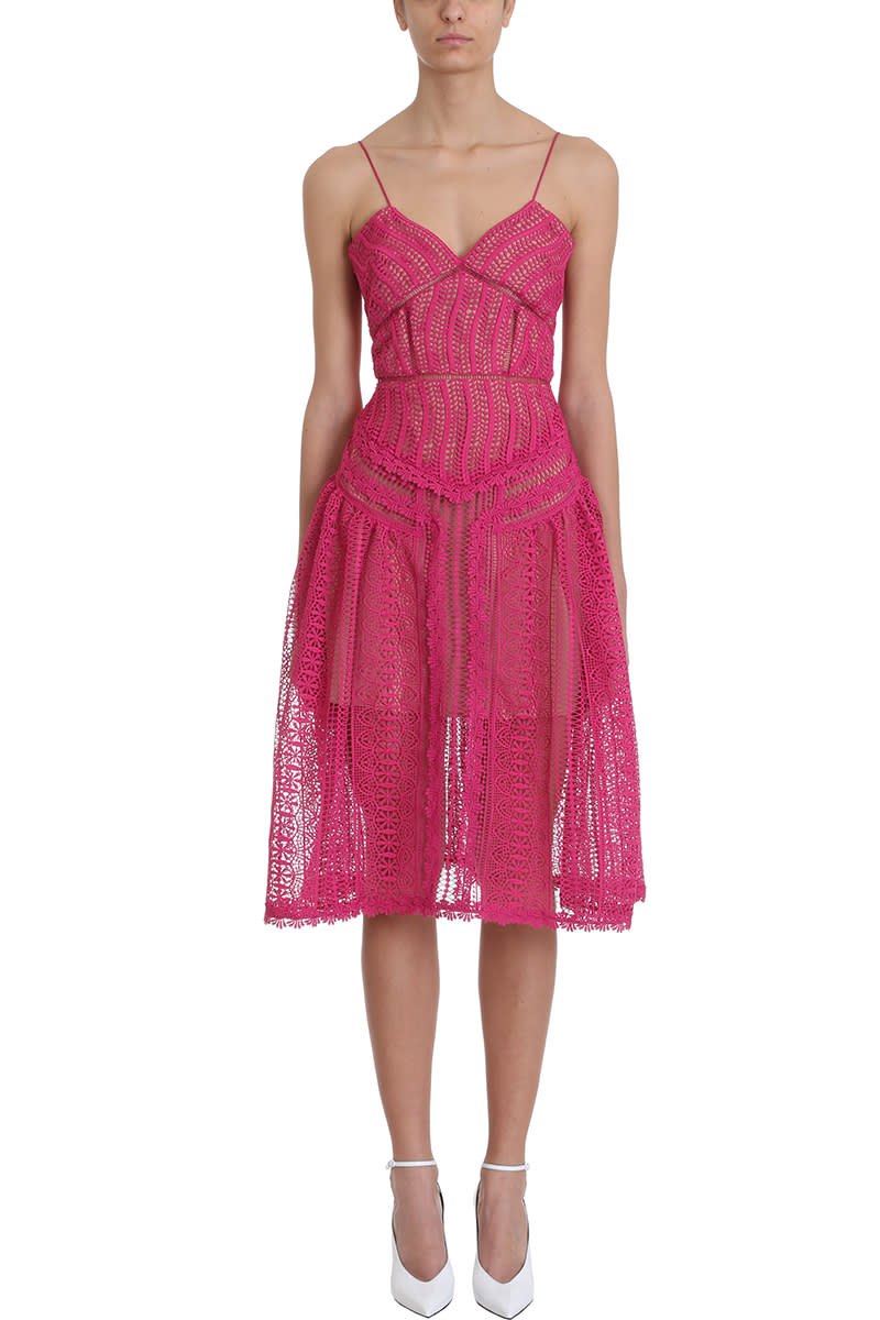 self-portrait Fuchsia Spiral Lace Panel Dress