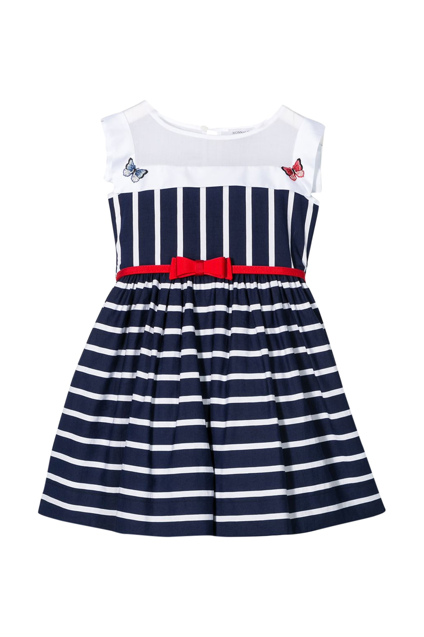 Buy Monnalisa Striped Sleeveless Dress online, shop Monnalisa with free shipping