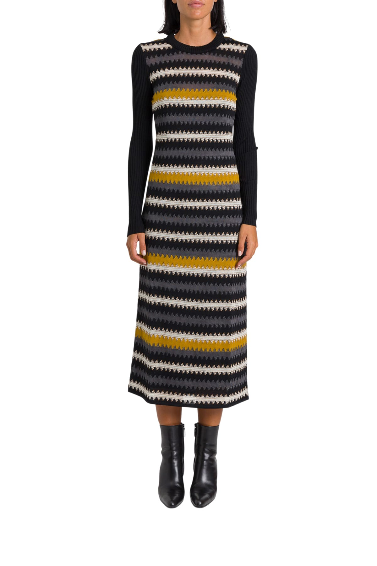 M Missoni Knitted Dress With Herringbone Stripes