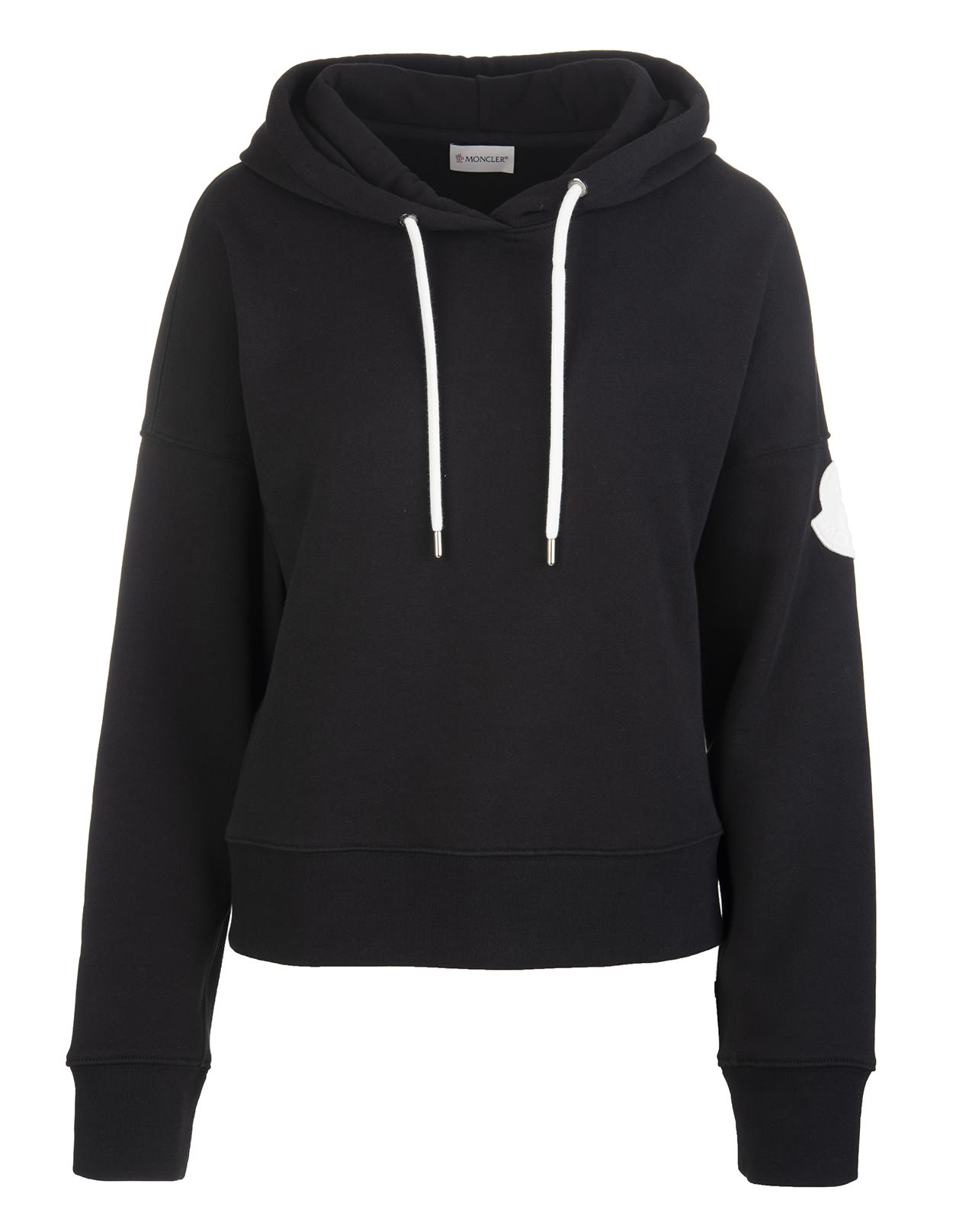 Moncler BLACK WOMAN HOODIE WITH LOGO