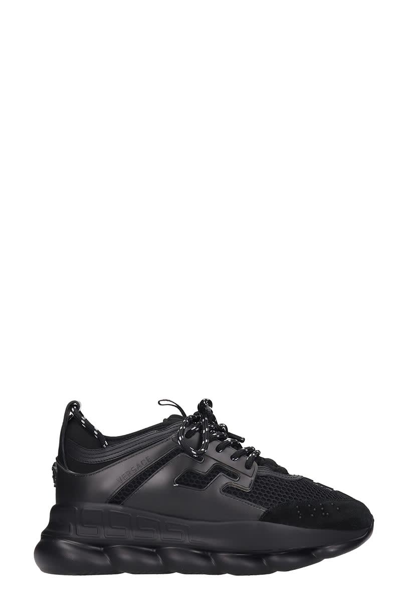 Versace Suedes CHAIN REACTION SNEAKERS IN BLACK TECH/SYNTHETIC
