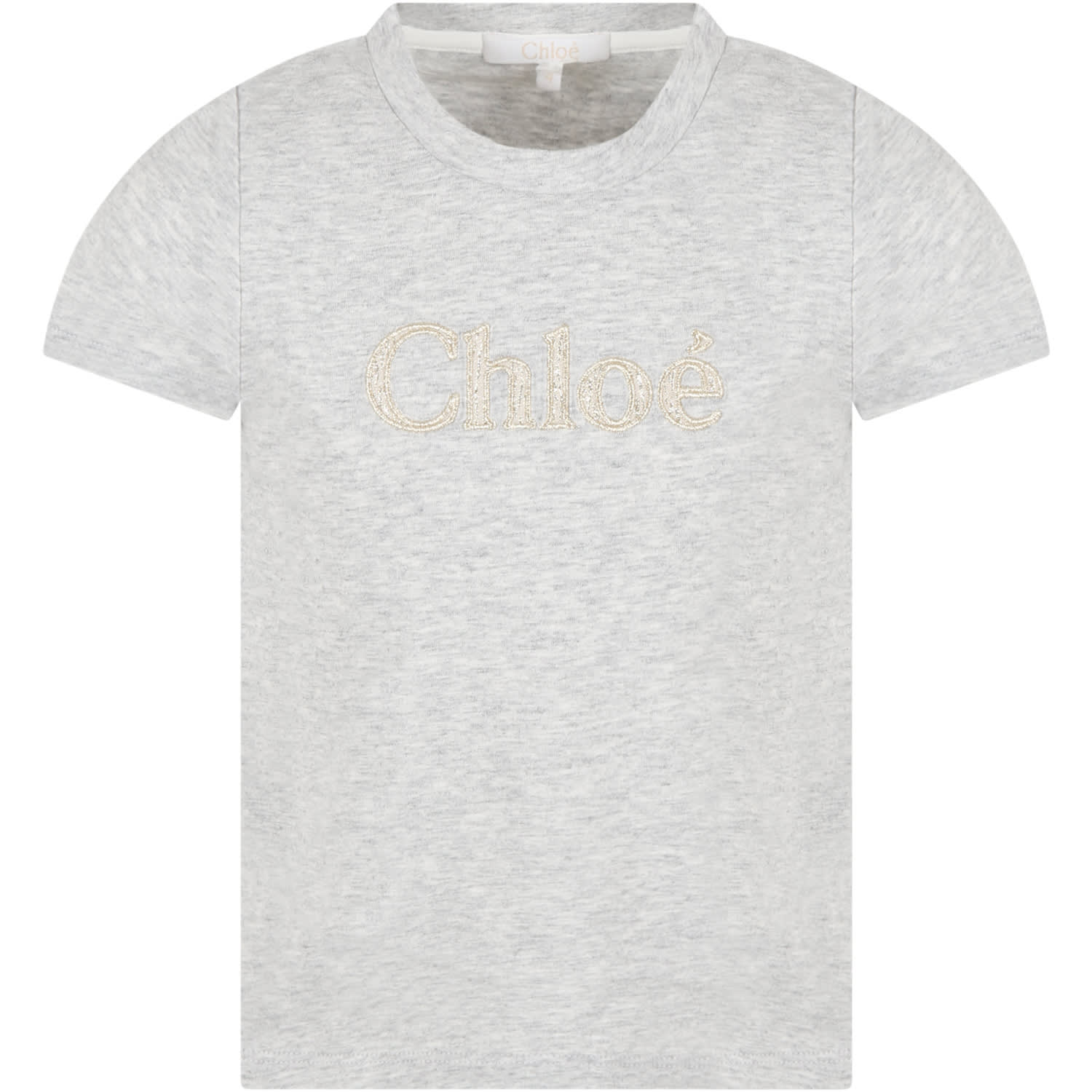 Chloé Kids' Grey T-shirt For Girl With Logo