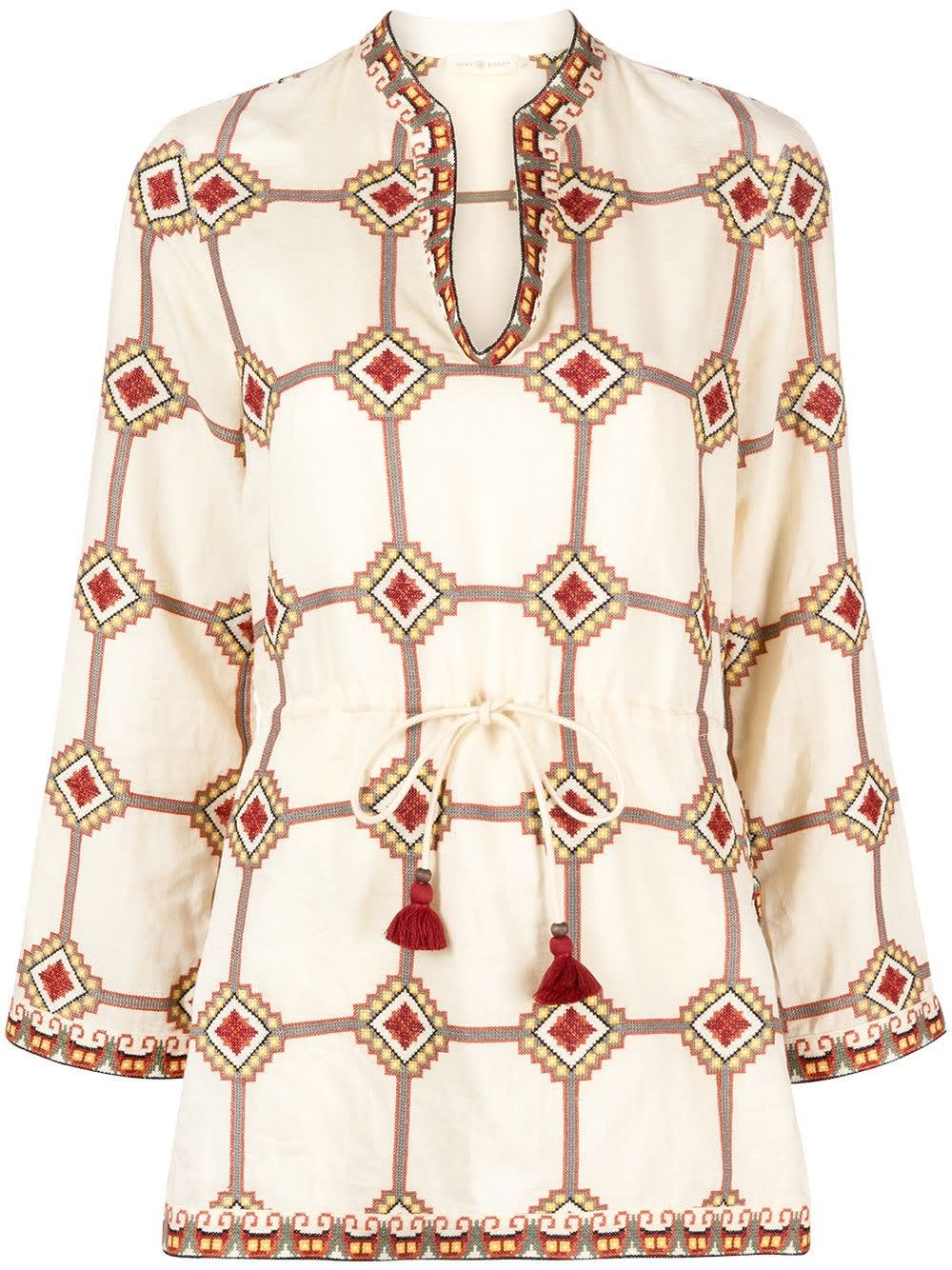 Tory Burch EMBROIDERED BLOUSE WITH GEOMETRIC PRINT