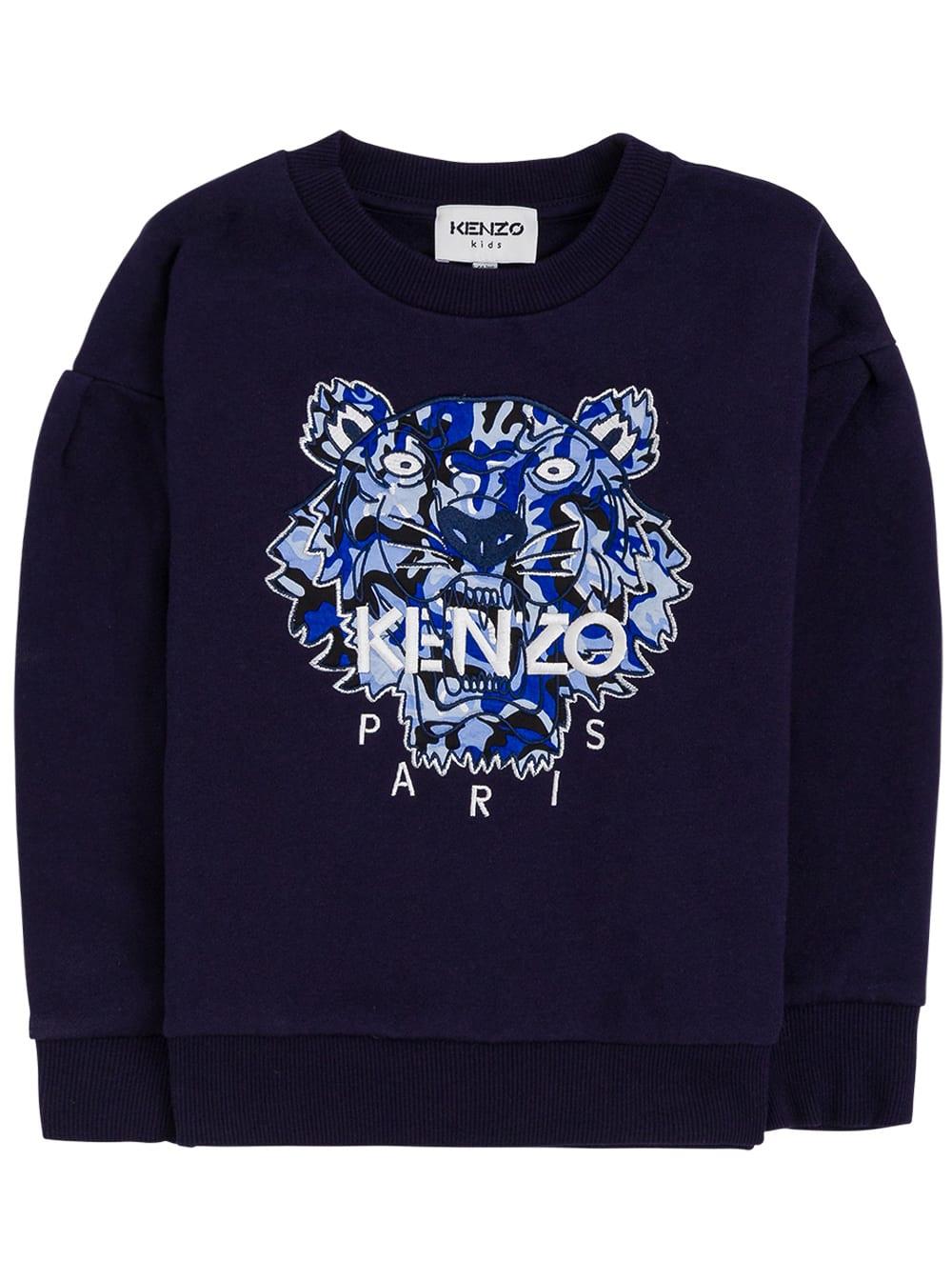Blue Cotton Sweatshirt With Tiger Print