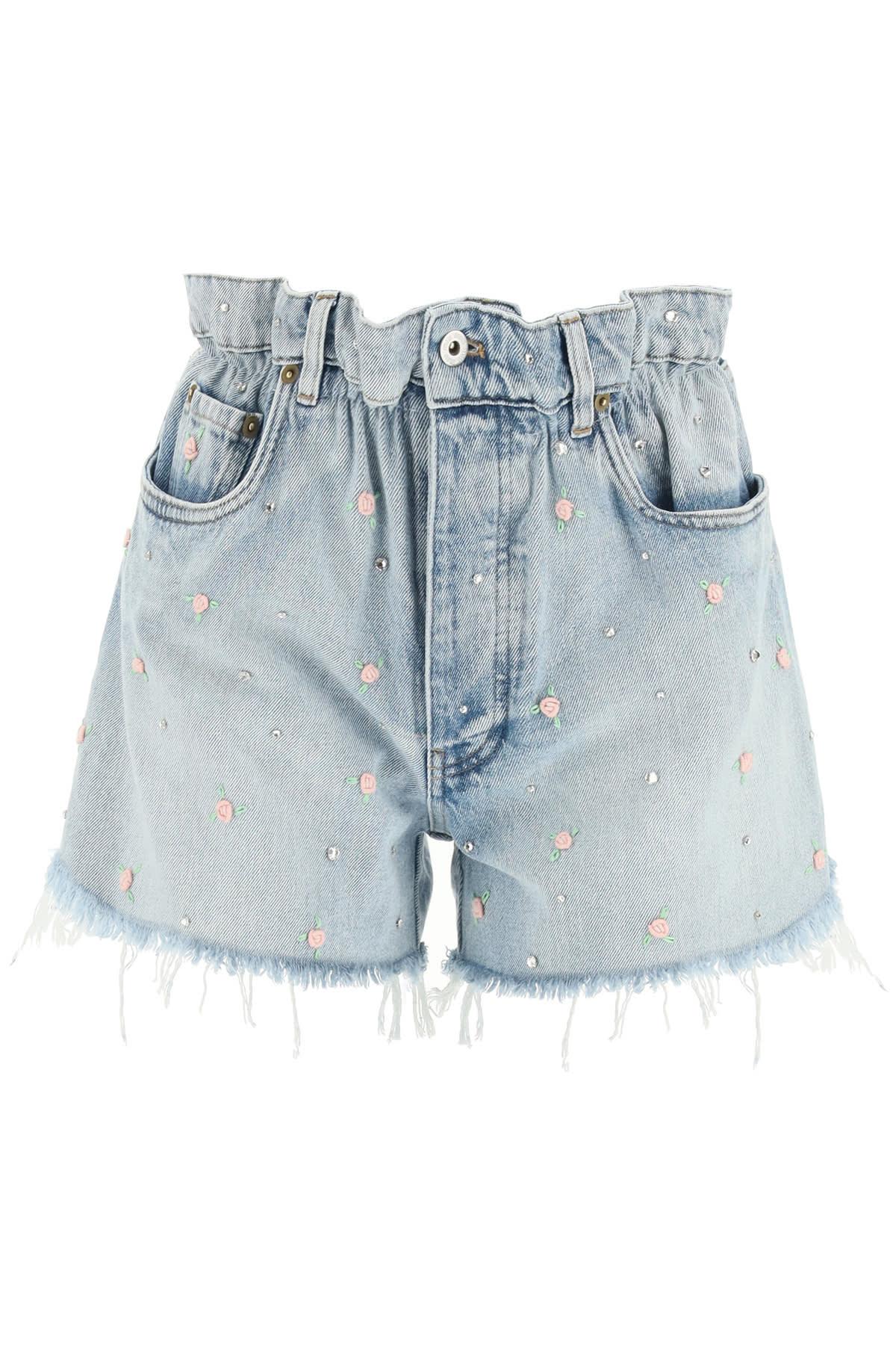 Miu Miu Mini skirts ICONIC DENIM PAPER BAG SHORTS