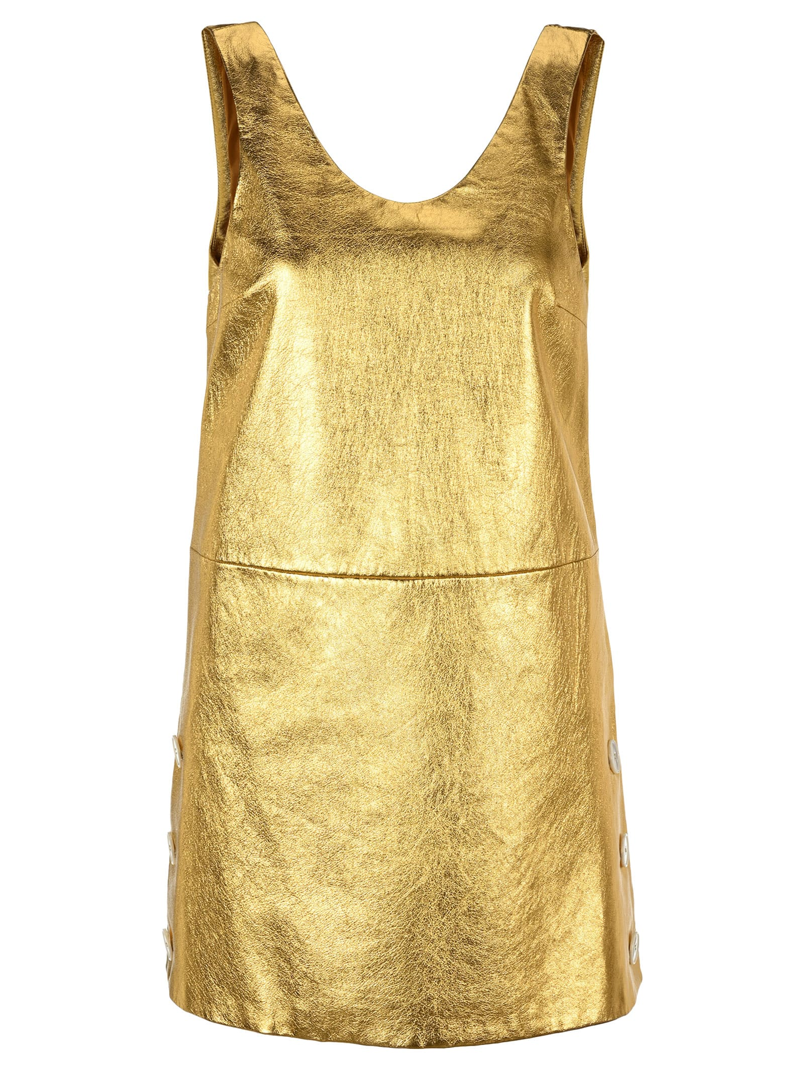 Buy Prada Laminated Nappa Leather Mini Dress online, shop Prada with free shipping