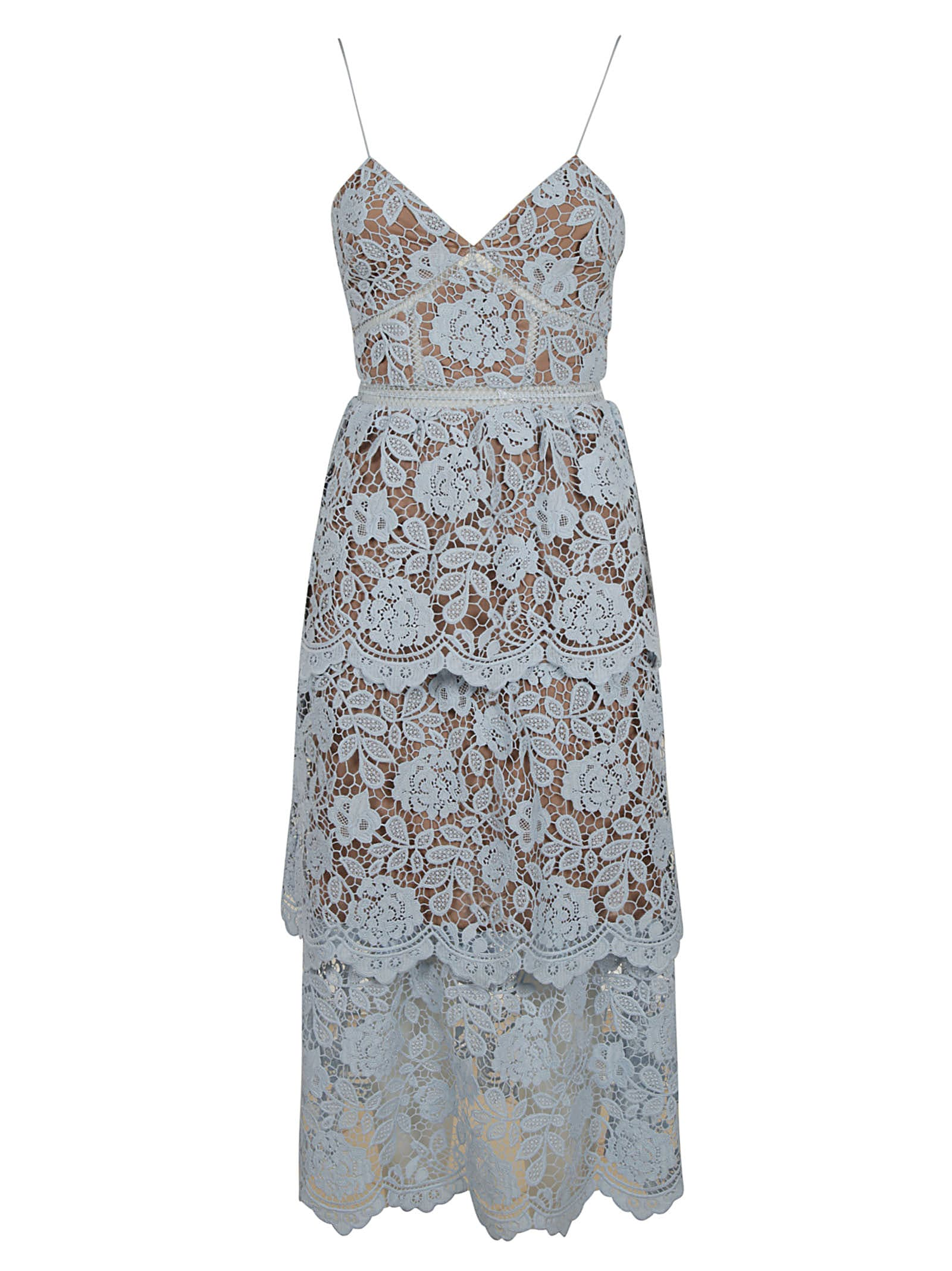 self-portrait Flower Lace Midi Tiered Dress