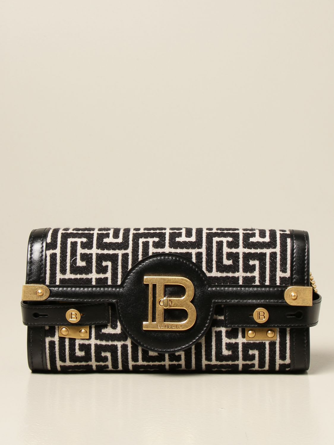 Balmain Bags BAG IN FABRIC AND LEATHER WITH MONOGRAM