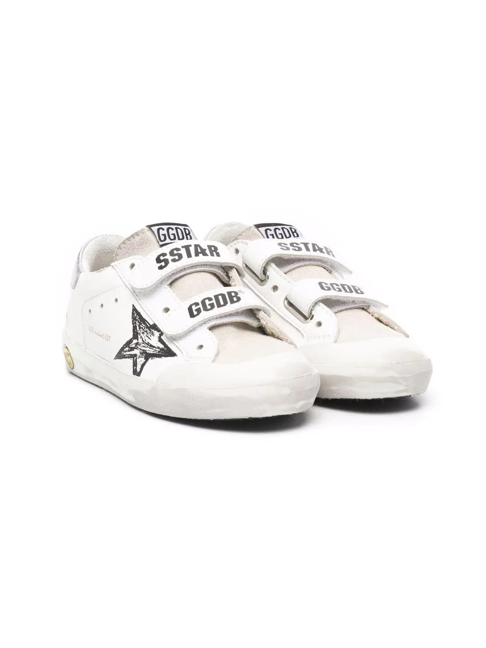 Golden Goose Kids White And Silver Metallic Super-star Sneakers With Velcro Closure