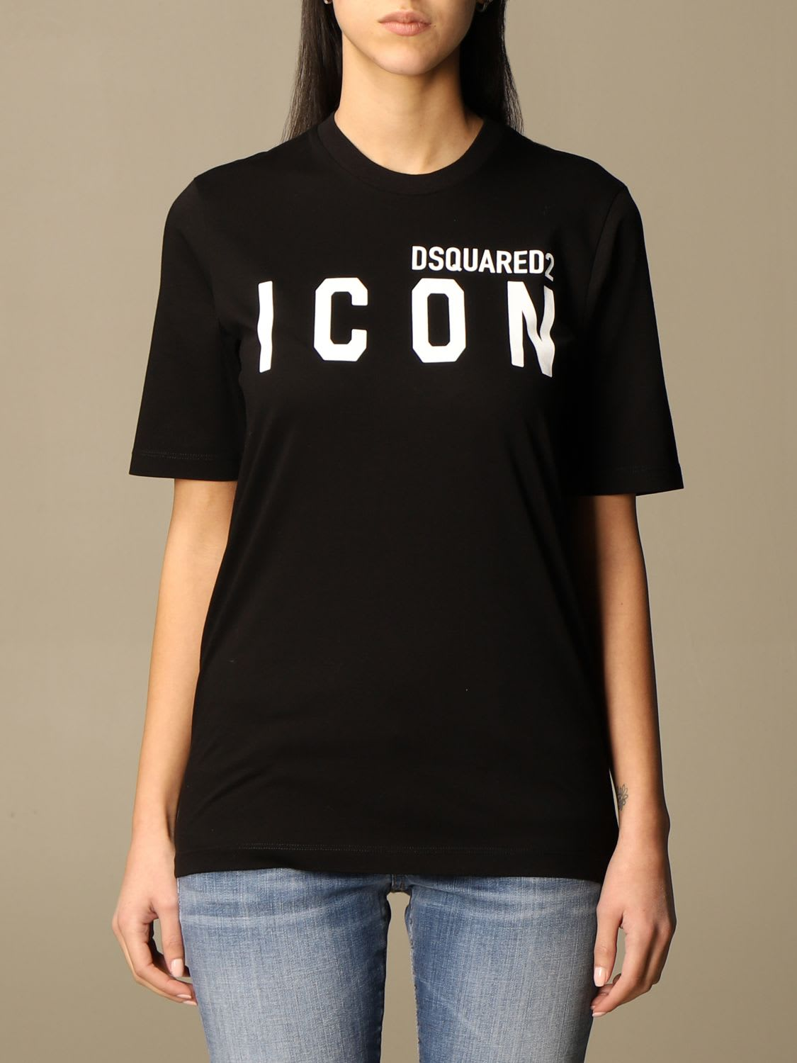 Dsquared2 Cotton T-shirt With Icon Logo In Black