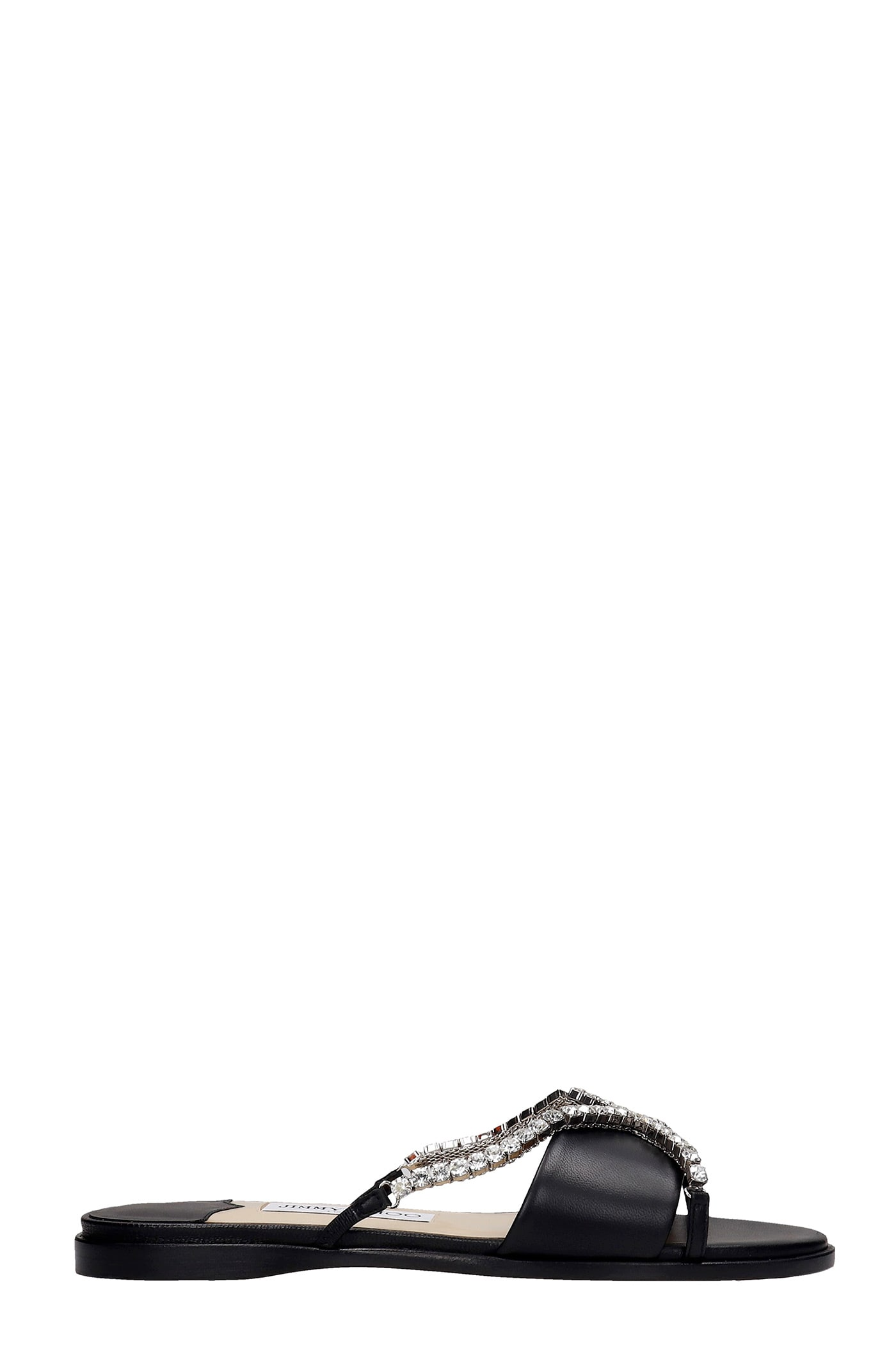 Buy Jimmy Choo Aadi Flat Flats In Black Patent Leather online, shop Jimmy Choo shoes with free shipping