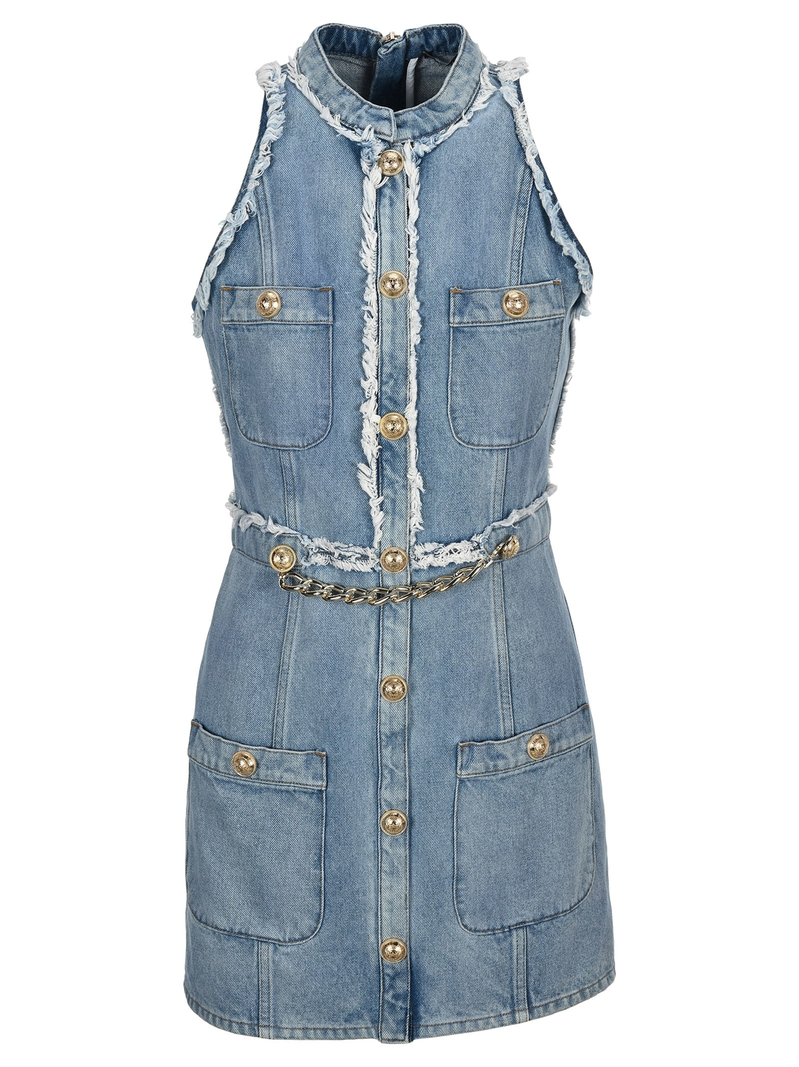 Buy Balmain Chain Embellished Denim Dress online, shop Balmain with free shipping