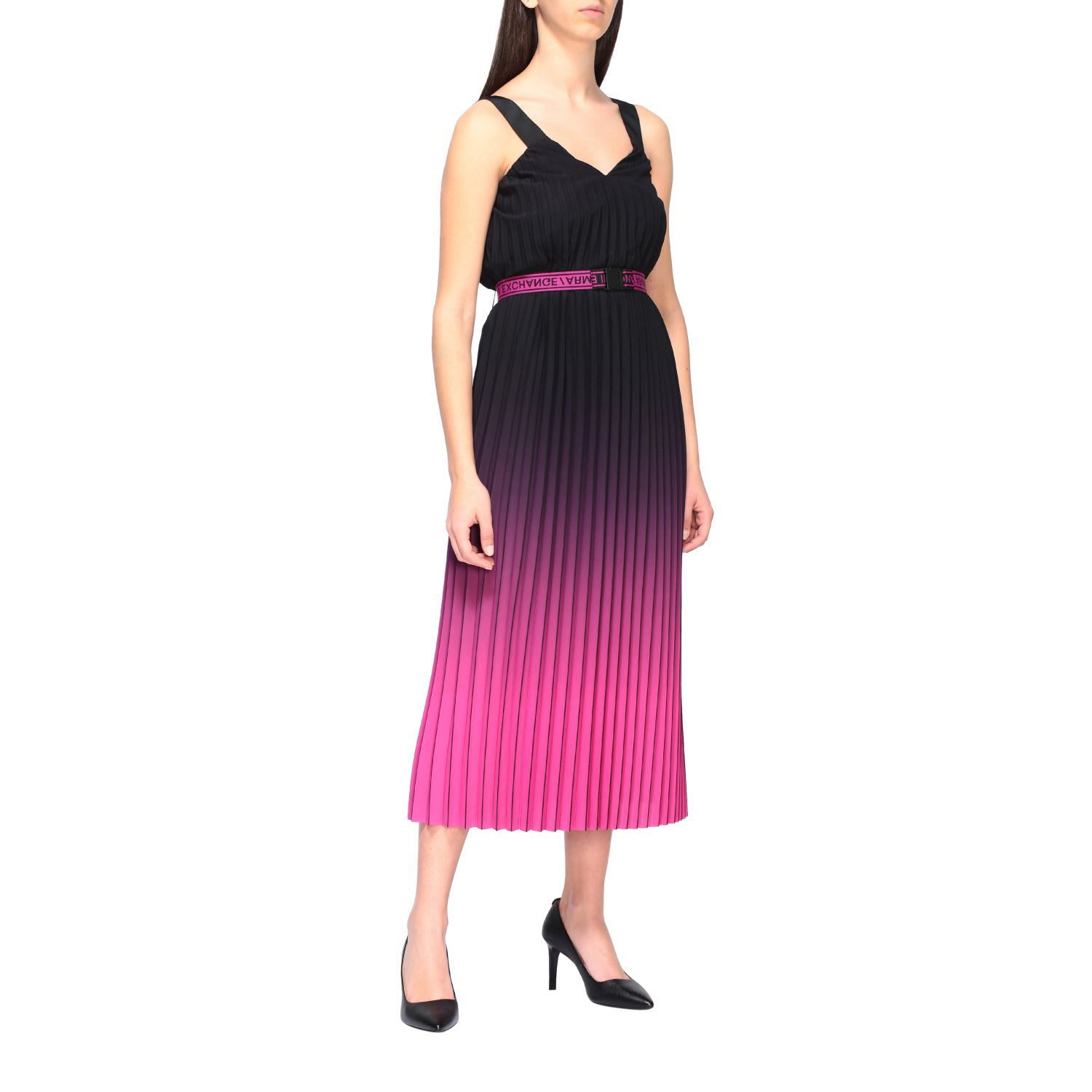 Buy Armani Exchange Dress Armani Exchange Long Pleated And Shaded Dress online, shop Armani Collezioni with free shipping